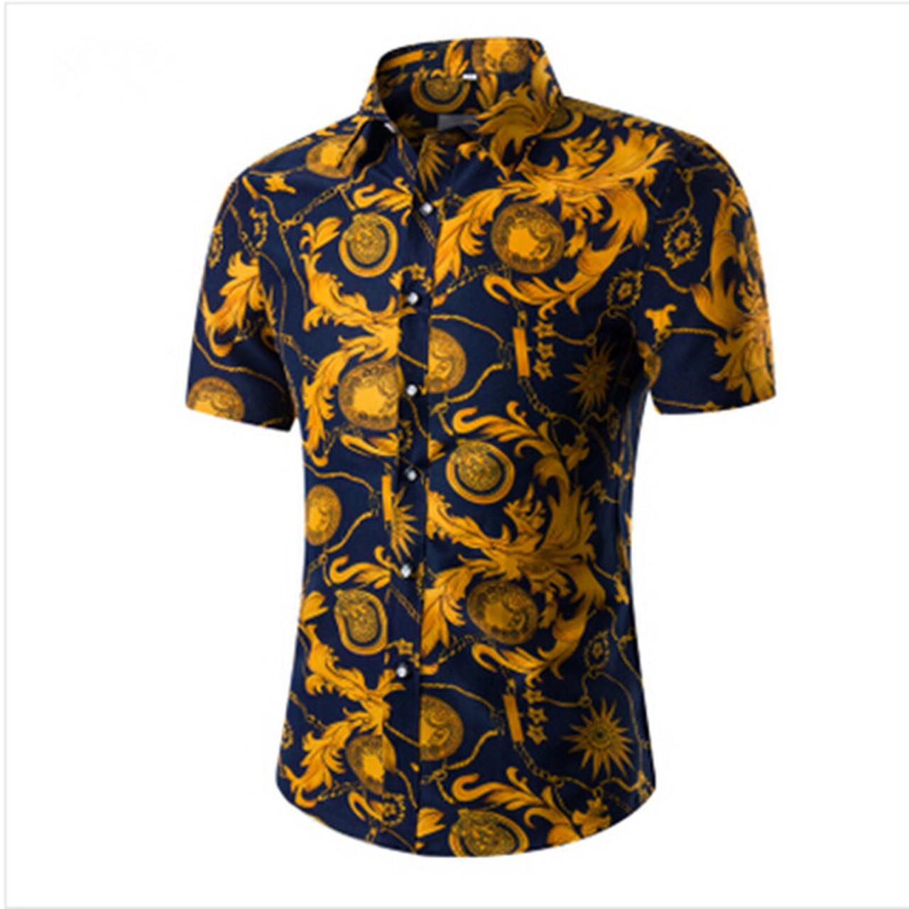 26d527ca953d 2018 Fashion Mens Short Sleeve Hawaiian Shirt Summer Casual Floral Shirts  For Men Asian Size M ...