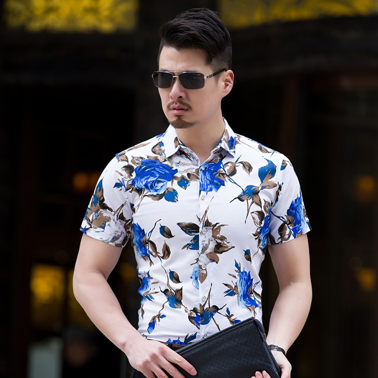 5779846884f ... High Quality Shirt Men Summer 2018 Short Sleeve Fashion Men Floral Shirts  Slim Fit Plus Size ...