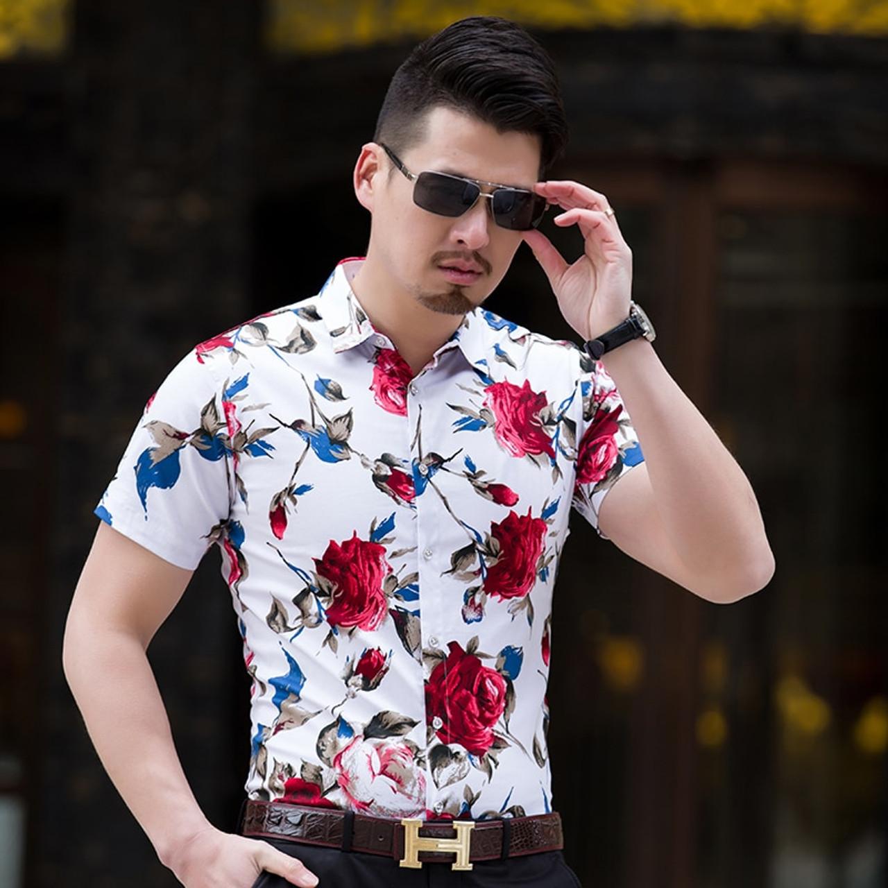 2db7a8f648a1 ... High Quality Shirt Men Summer 2018 Short Sleeve Fashion Men Floral  Shirts Slim Fit Plus Size ...