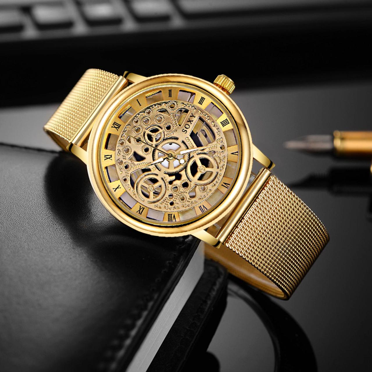 909ef0c73f48c SOXY Luxury Skeleton Watches Men Watch Fashion Gold Watch Men Clock Men s  Watch relogio masculino reloj ...