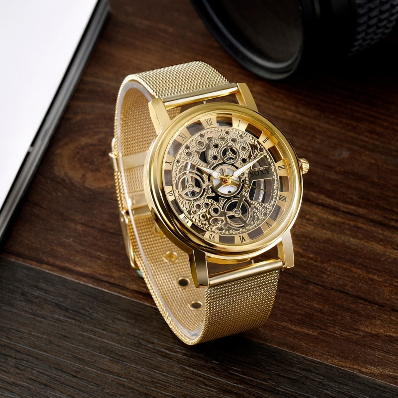 ea7f8e53c7a5 ... SOXY Luxury Skeleton Watches Men Watch Fashion Gold Watch Men Clock  Men s Watch relogio masculino reloj ...