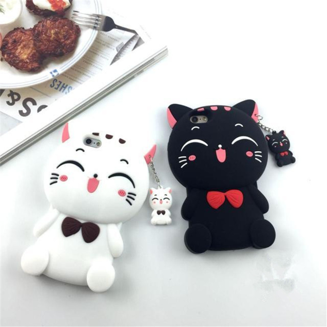 bd452400d70250 ... 3D Luxury Cute Cartoon Lucky Cat Soft Silicone Mobile Phone Back Case  Cover Skin Shell For ...