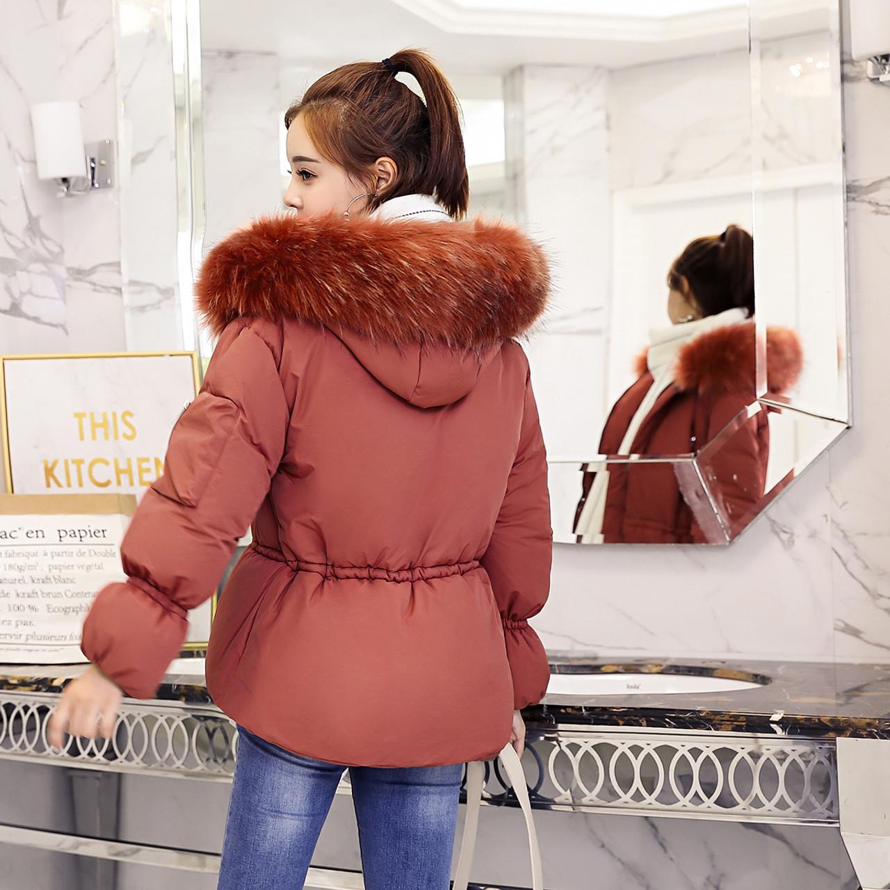 96f148abee9a ... Fitaylor 2018 New Winter Jacket Women Faux Fur Hooded Parka Coats Short  Bread Coat Female Thick ...