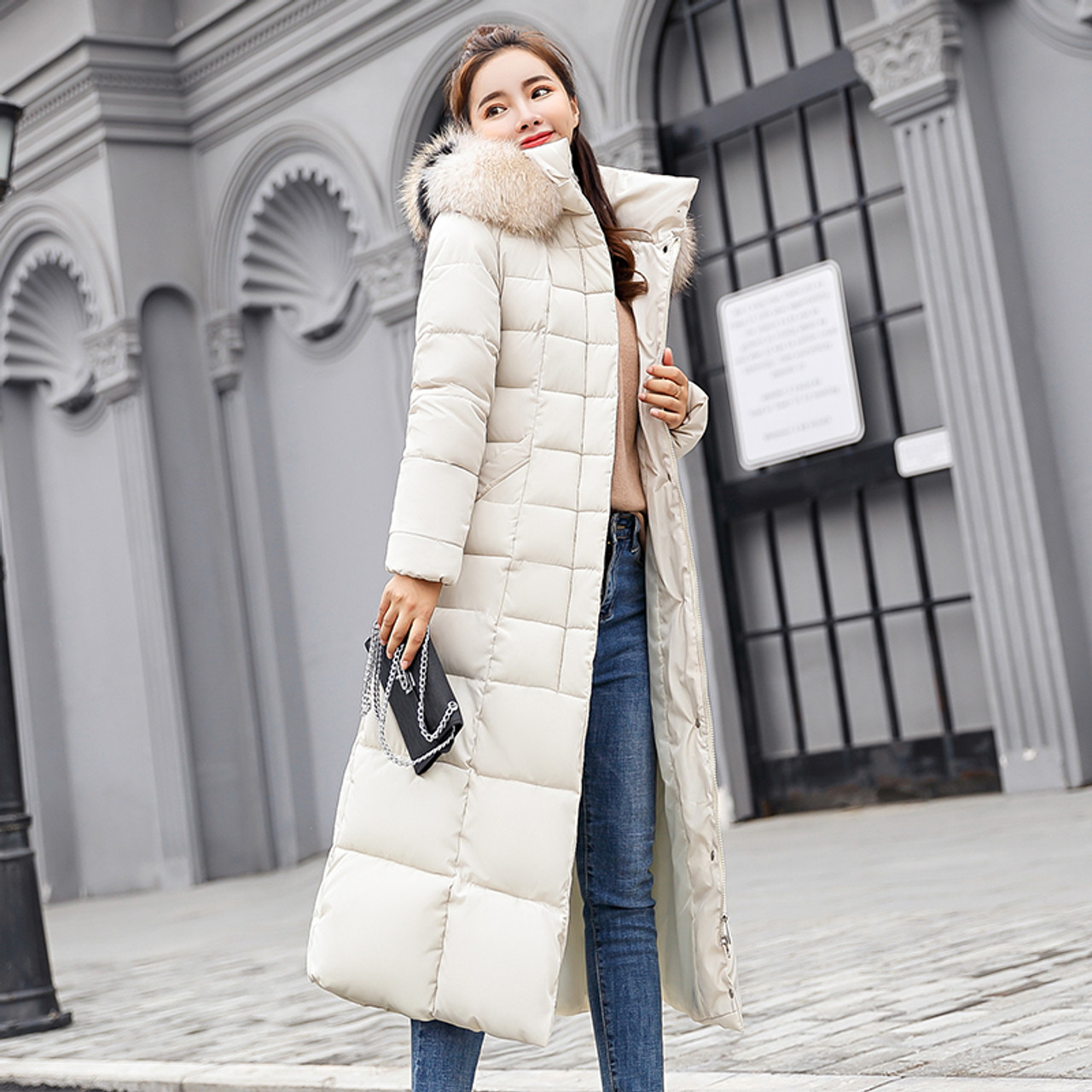 xiaohuoban Mens Padded Coat Thick Winter Coat Mid-Long Solid Cotton Wadded Jacket