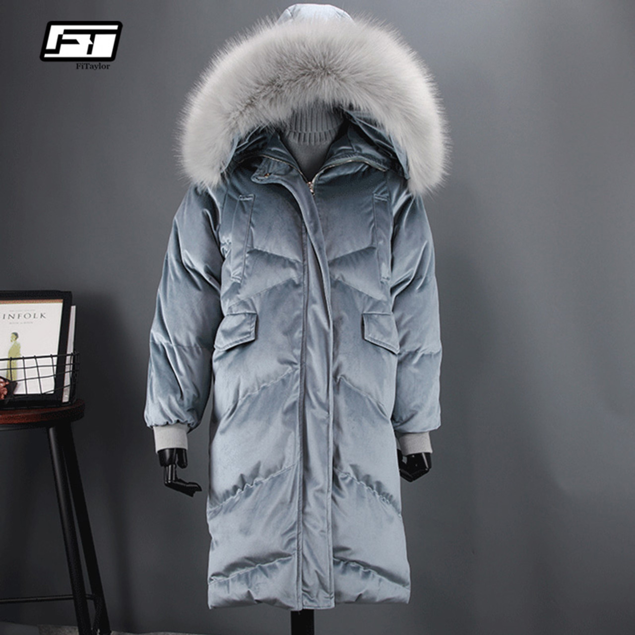41e2ceaf810 Fitaylor Women Duck Down Parkas Winter Large Real Fur Collar Warm Hooded  Velour Jacket Coats Snow ...