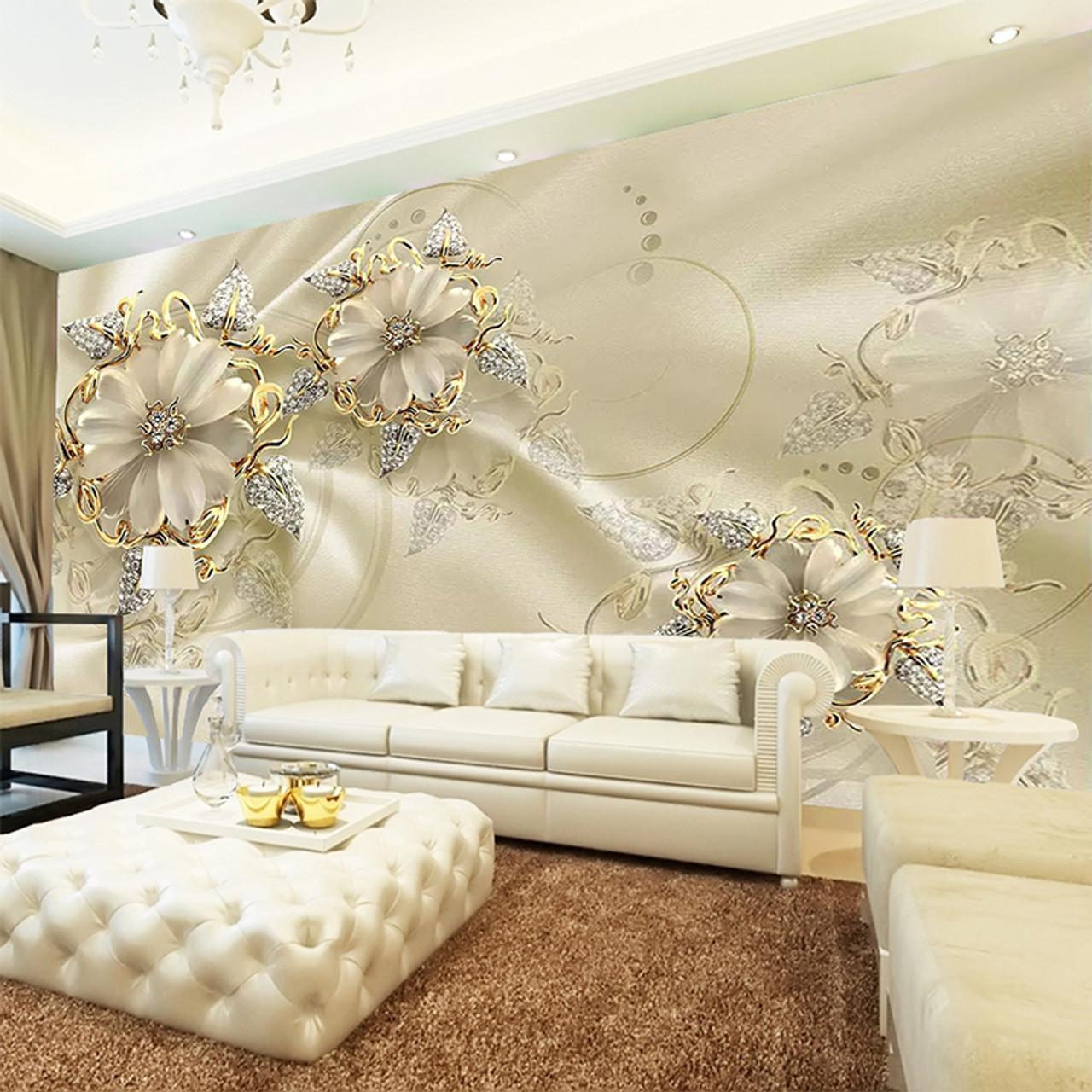Custom 3d Mural Wallpaper European Style Diamond Jewelry Golden