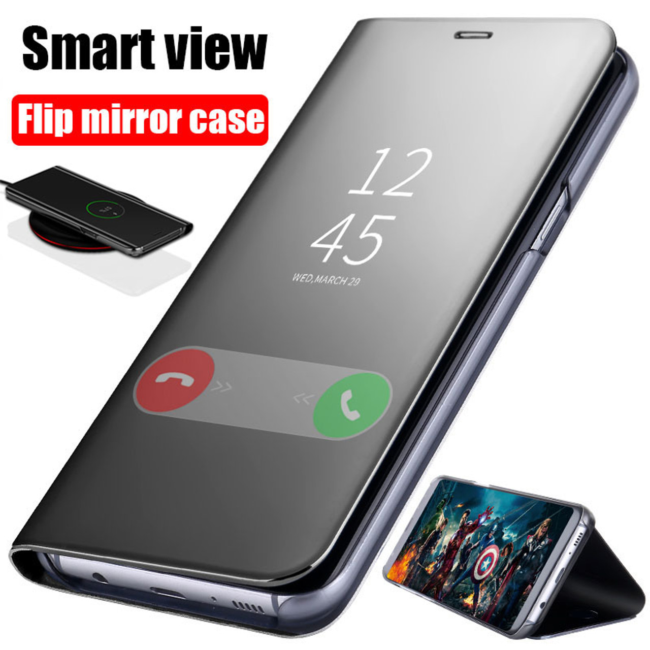 f1e4937c4 Clear View Mirror Flip Phone Case For Samsung Galaxy S8 S9 Plus S7 edge  Full Cover ...