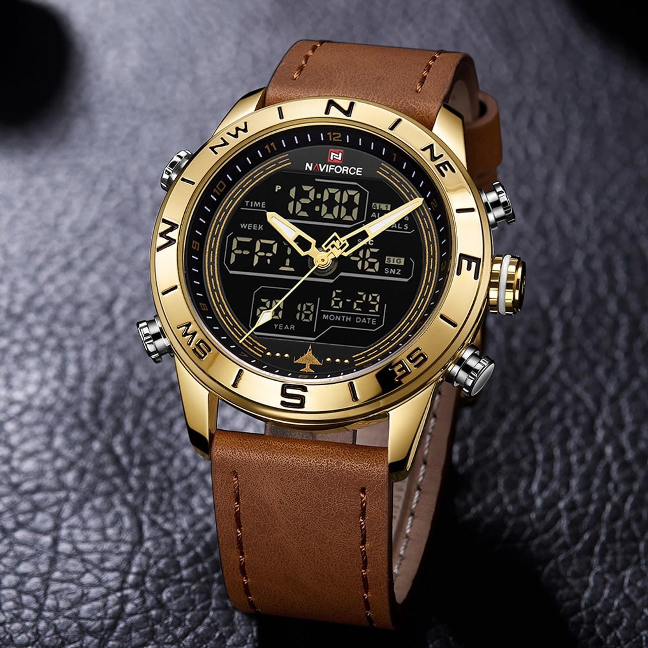 27f9aab17 ... NAVIFORCE 9144 Fashion Gold Men Sport Watches Mens LED Analog Digital Watch  Army Military Leather Quartz ...