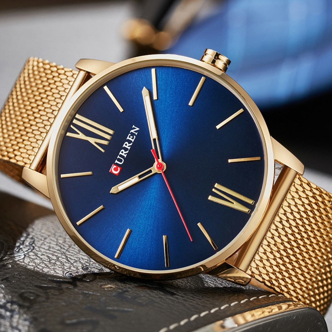 efb53f1dd28 2018 CURREN Mens Watches Top Brand Luxury Gold Quartz Watch Men Fashion  Waterproof Stainless Steel Sport ...