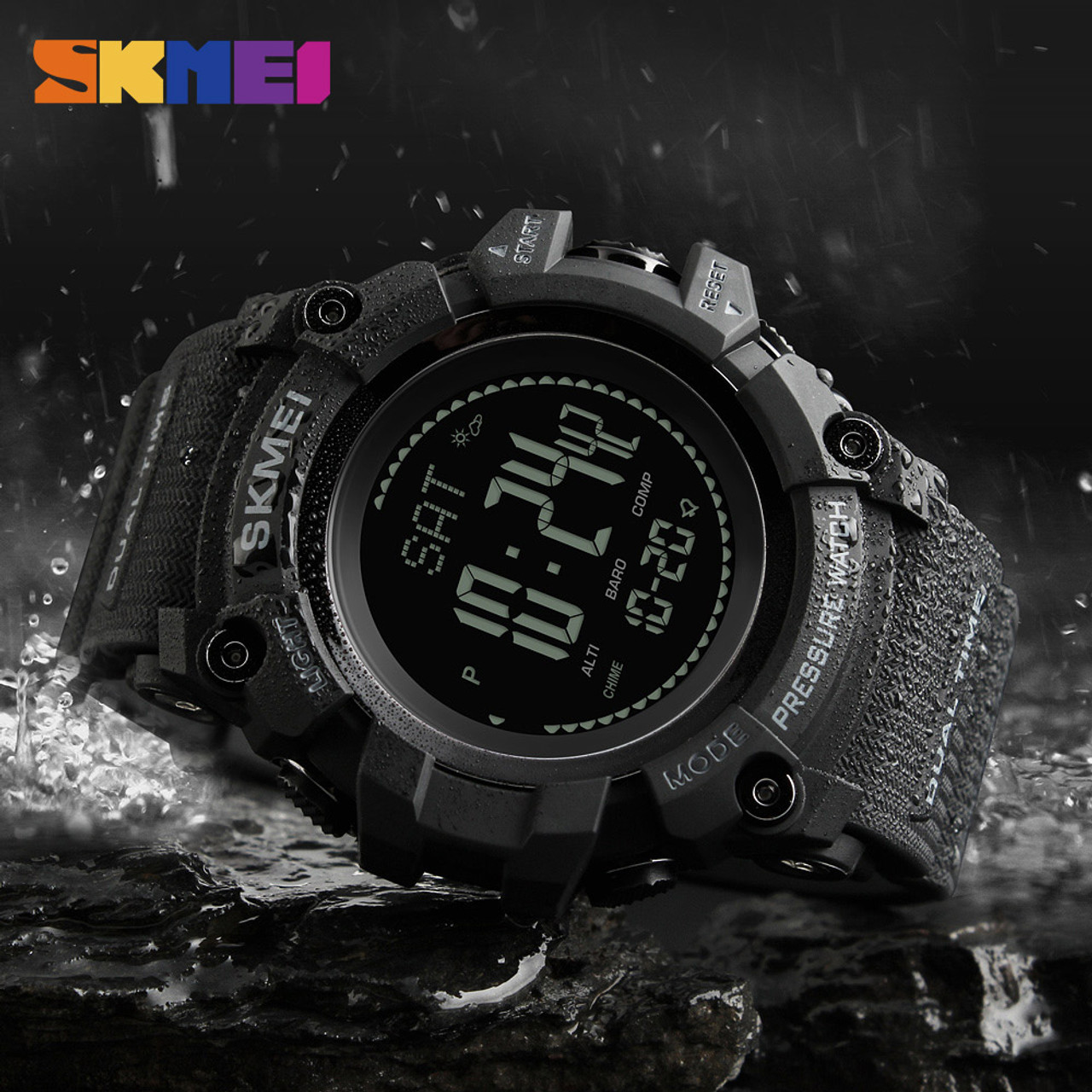 Sports Watches Men Compass Waterproof Outdoor Countdown Repeater Alarm World Time Digital Wristwatches Relogio Masculino Skmei Men's Watches