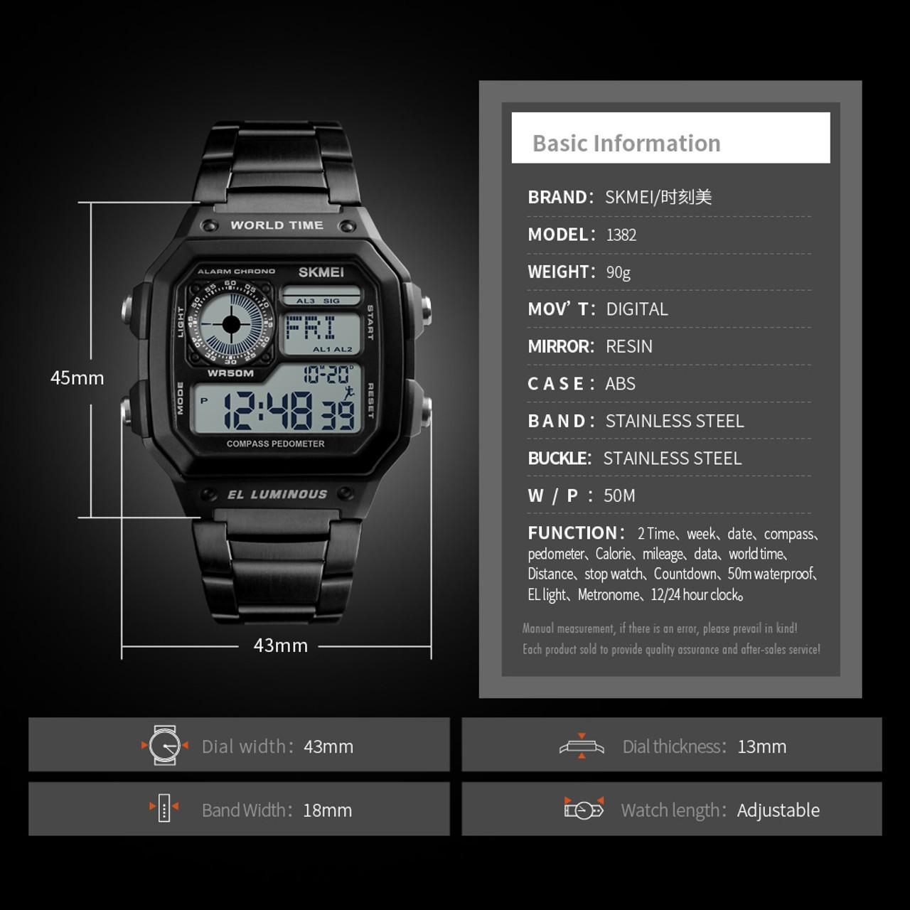 fa040edffff5 ... Compass Countdown Digital Sports Watches SKMEI Mens Watches Top Brand  Luxury Pedometer Calories Waterproof Men Wrist ...