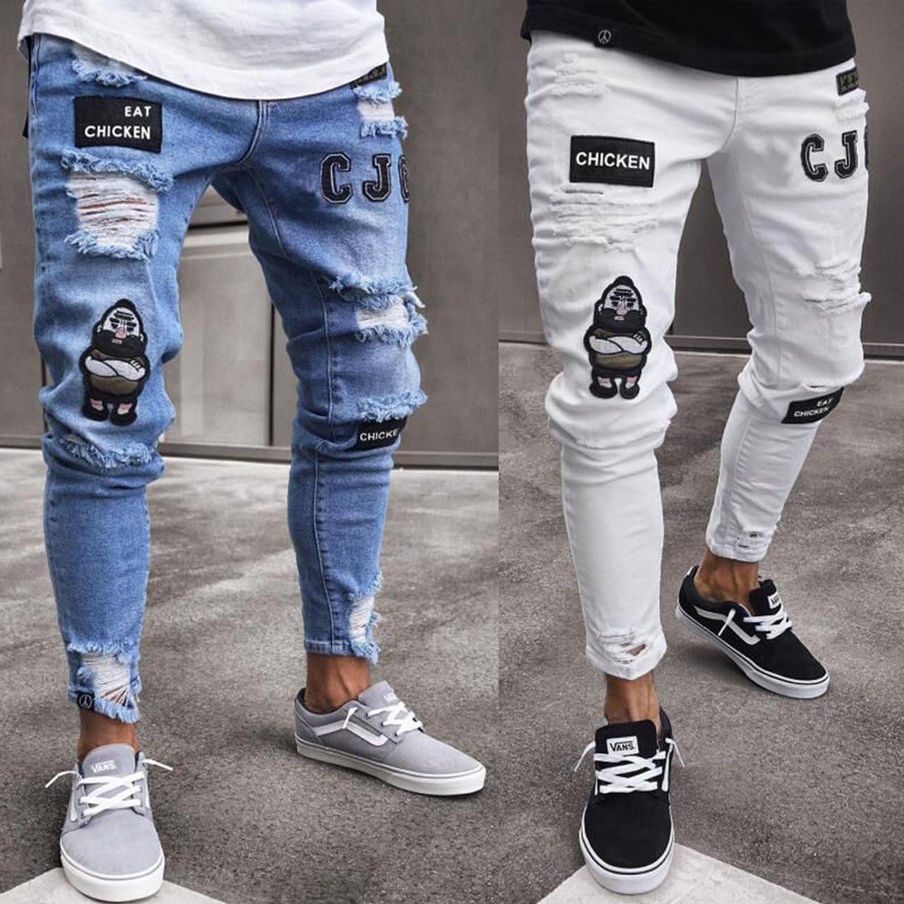 34722082005 Hirigin 2018 Jeans Men Fear Of Gold Skinny Jeans Fashion Biker Steetwear Distressed  Ripped Denim Pencil ...