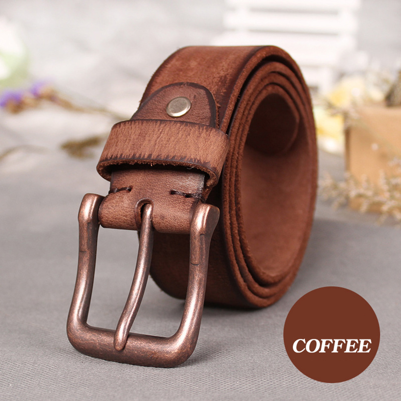 Western Style Mens  100/% Genuine Leather Belts