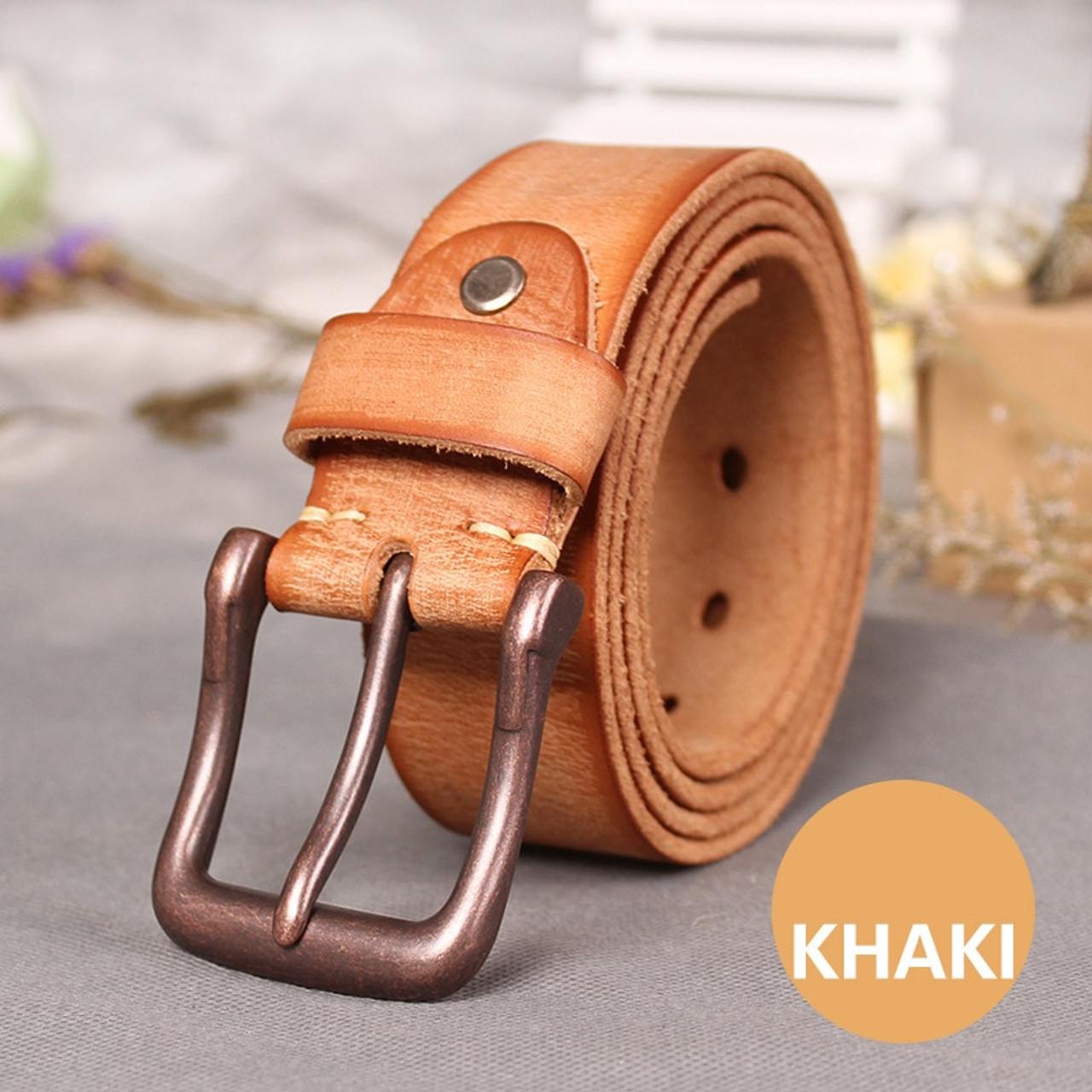 Mens Orange Plain Genuine Leather Cowboy Belt Western Dress Buckle Cinto