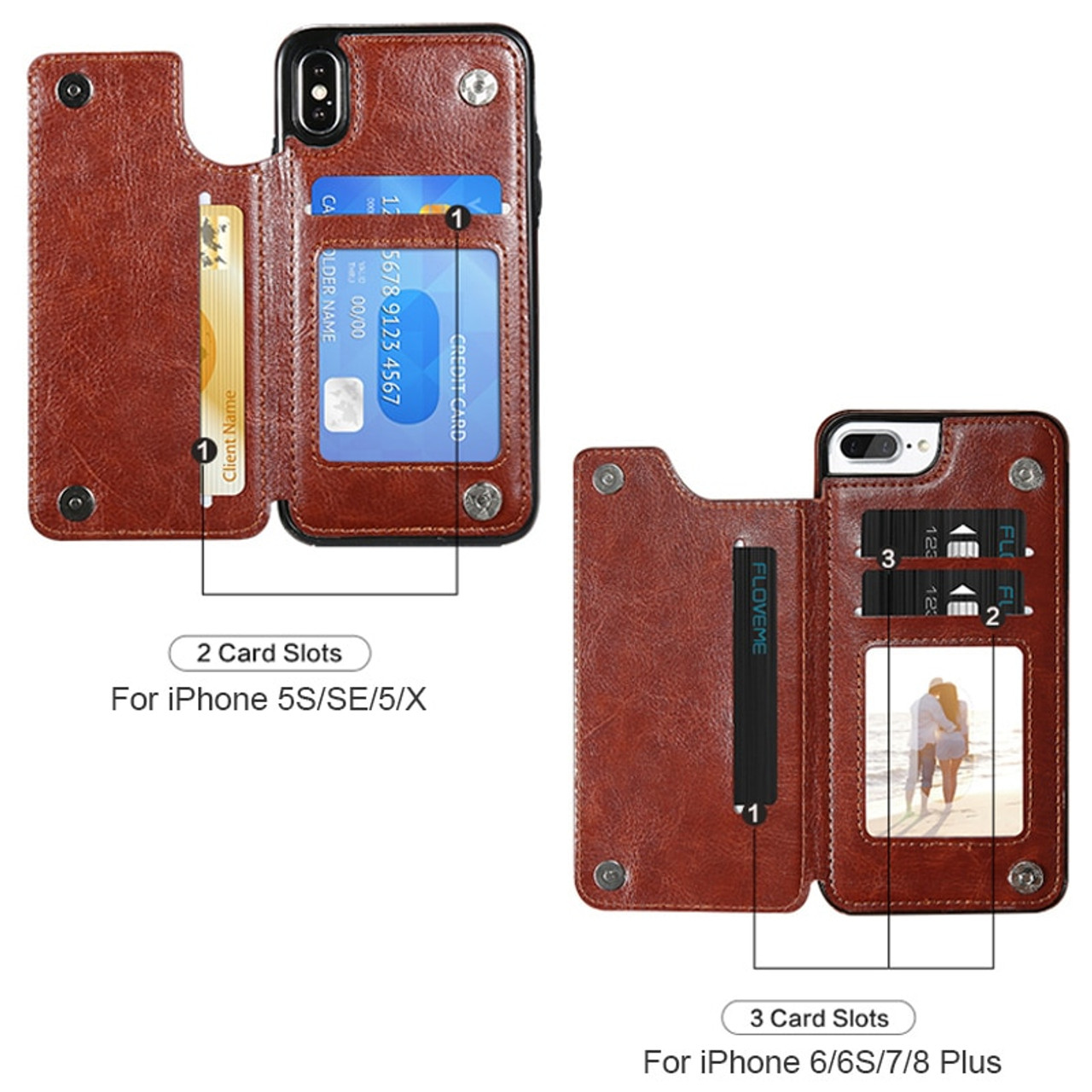 7ea162b76 ... KISSCASE Leather Case For iPhone X 6 6s 7 8 Plus XS 5S SE Multi Card ...