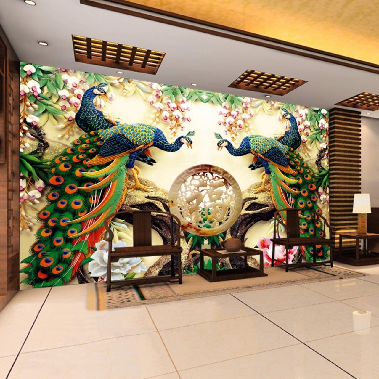 Custom 3d Wall Mural Wallpaper 3d Non Woven Peacock Living Room Tv