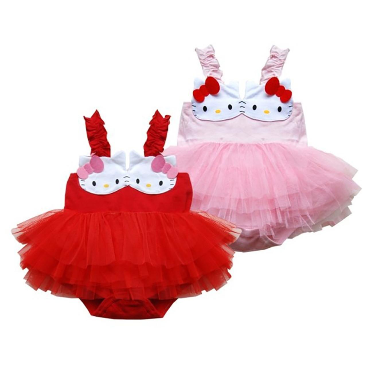 502a2d90d Baby Girl Clothes Newborn Baby Romper Dress Summer Bebe Infant Girls Hello  Kitty Lace Tutu Tank ...