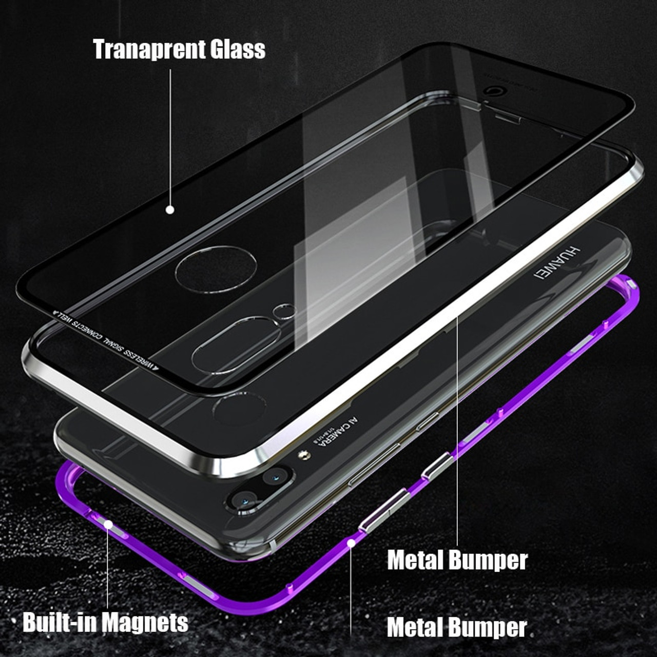 wholesale dealer 95682 edd16 Luxury Magnetic Case For Huawei Nova 3 3i P20 Pro Metal Bumper Magnets  Glass Cover For Case Huawei Nova 3i Case Nova3i Nova3