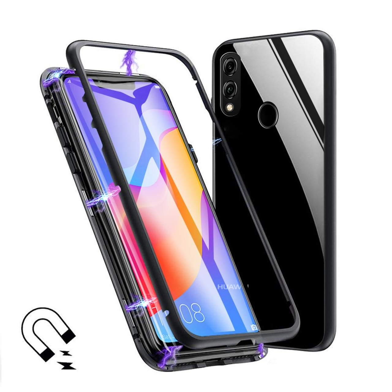 hot sale online a1cea 245b9 For huawei honor play case 6.3 magnetic flip clear tempered glass back  cover metal frame protective coque funda for honor play