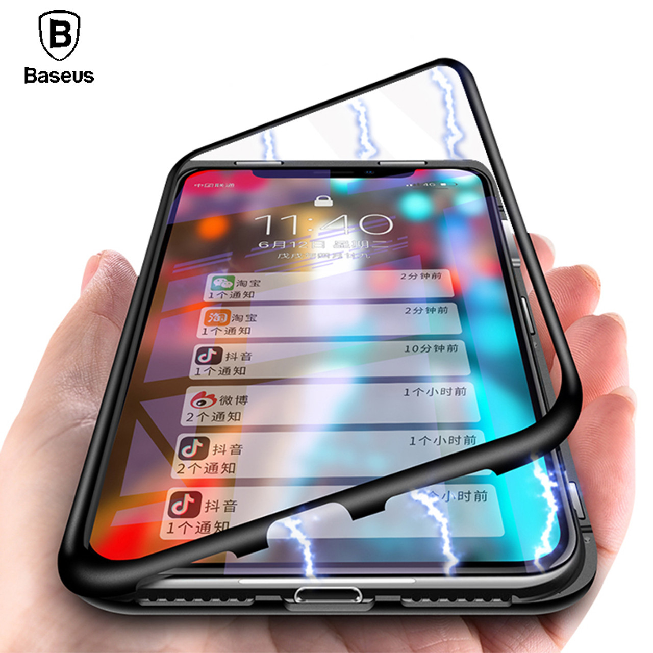 625b8046f74 Baseus Magnetic Adsorption Case For iPhone X 10 Luxury Metal Bumper+Tempered  Glass Back Cover ...