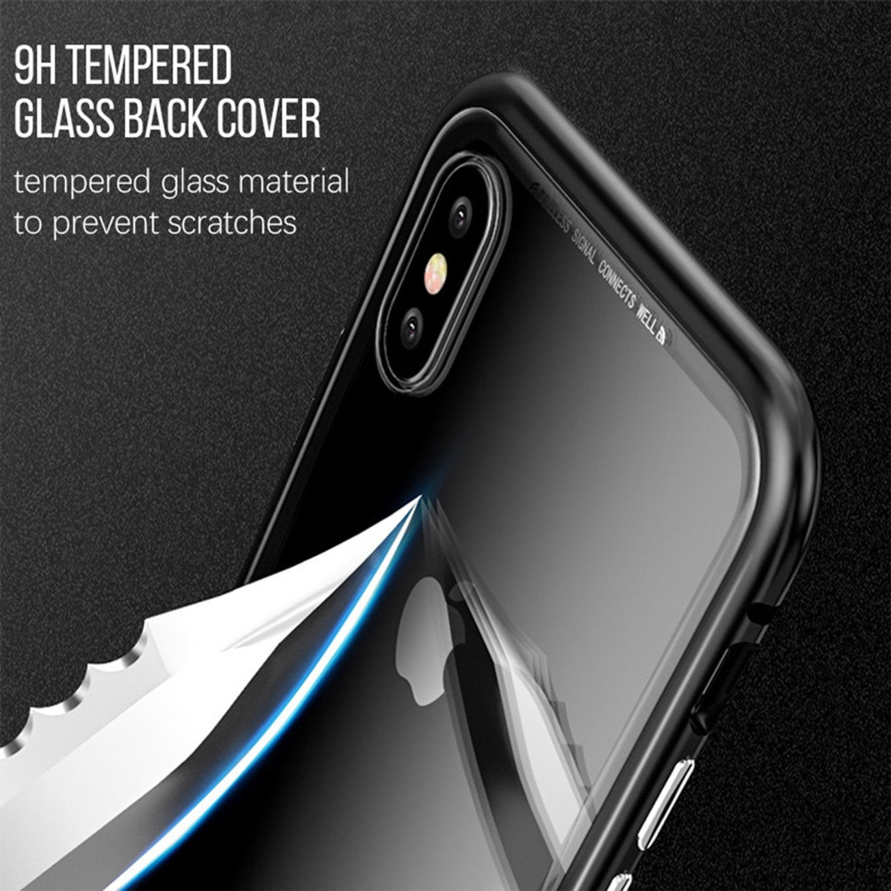 6067b88c3ea ... WOWCASE Magnetic Adsorption Tempered Glass Cases For iPhone X Metal  Bumper Luxury Magnet Back Cover For ...