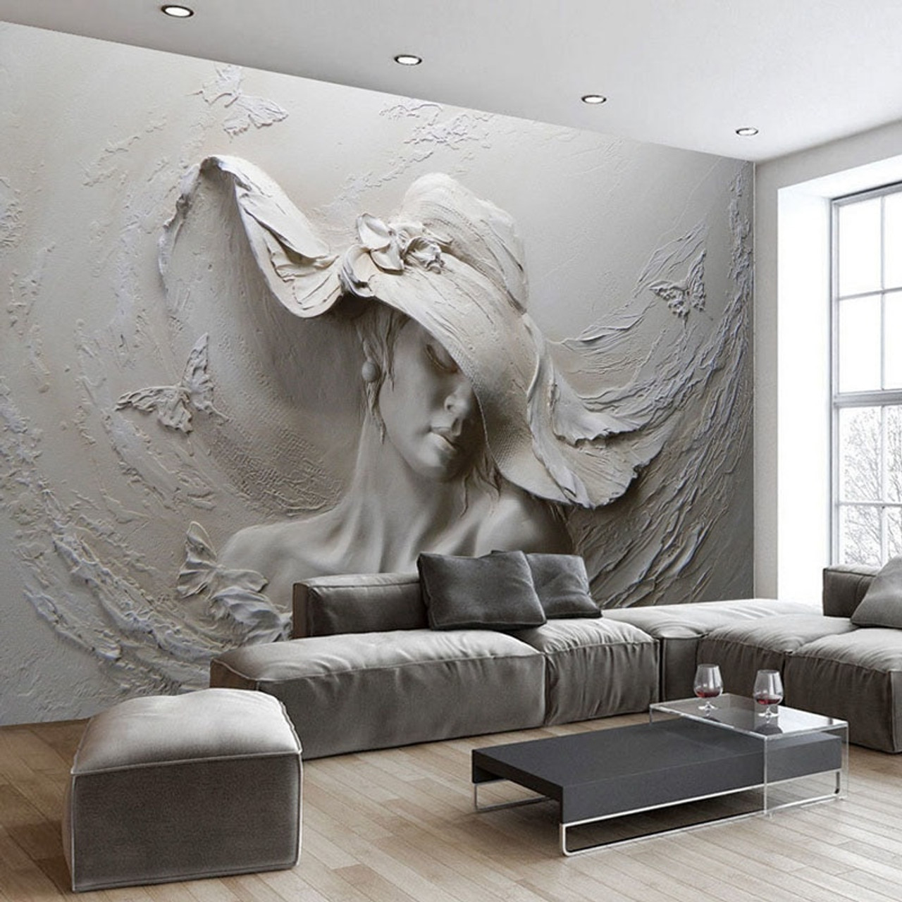 Custom Wallpaper 3d Stereoscopic Embossed Gray Beauty Oil Painting