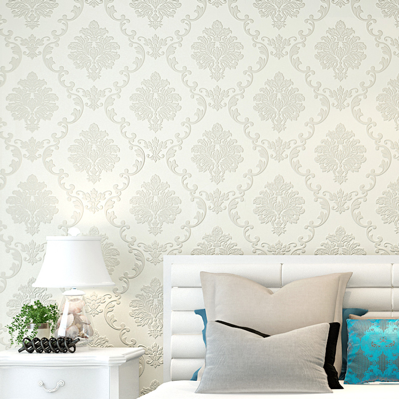 European Style 3d Embossed Floral Luxury Damask Wallpaper