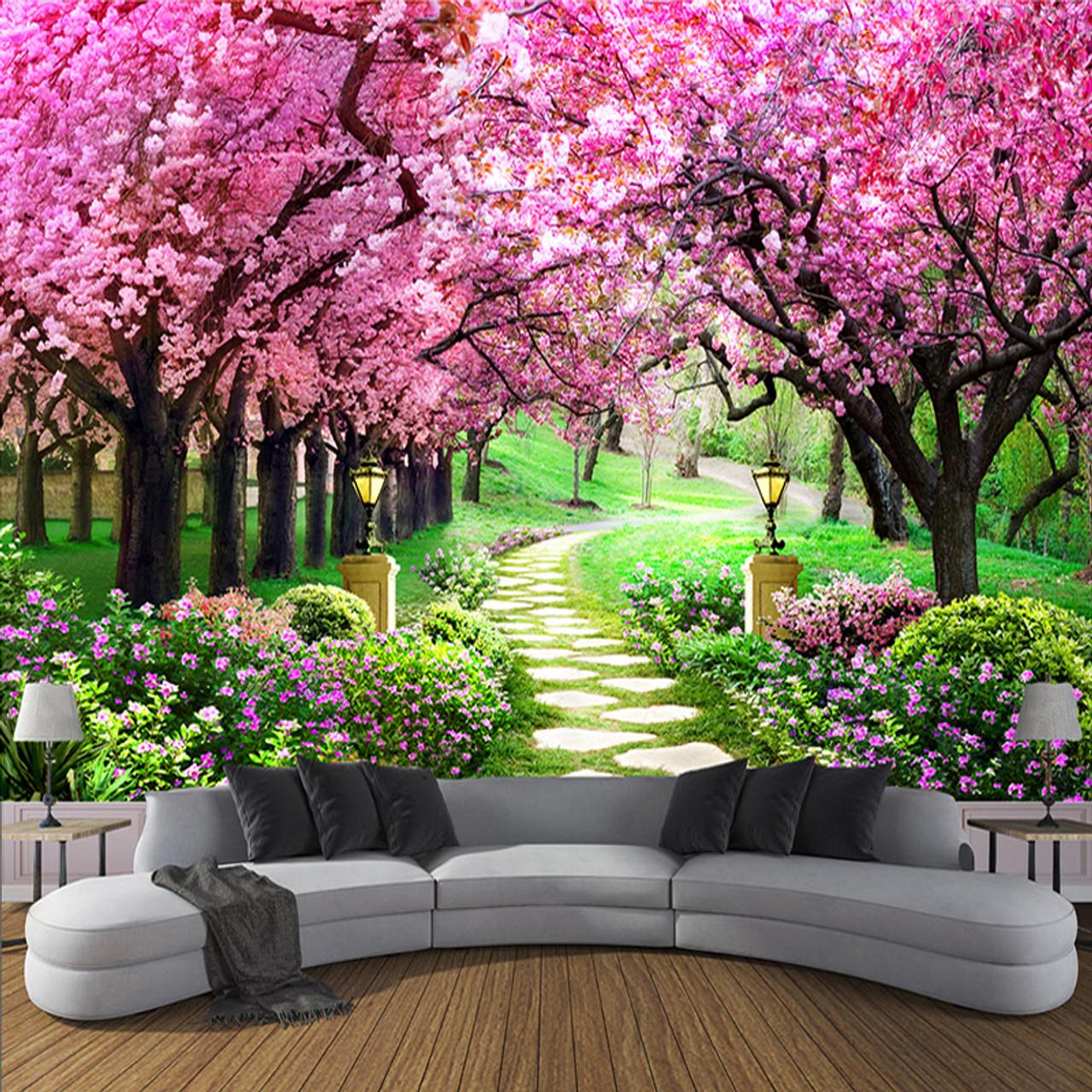 Custom 3d Photo Wallpaper Flower Romantic Cherry Blossom Tree