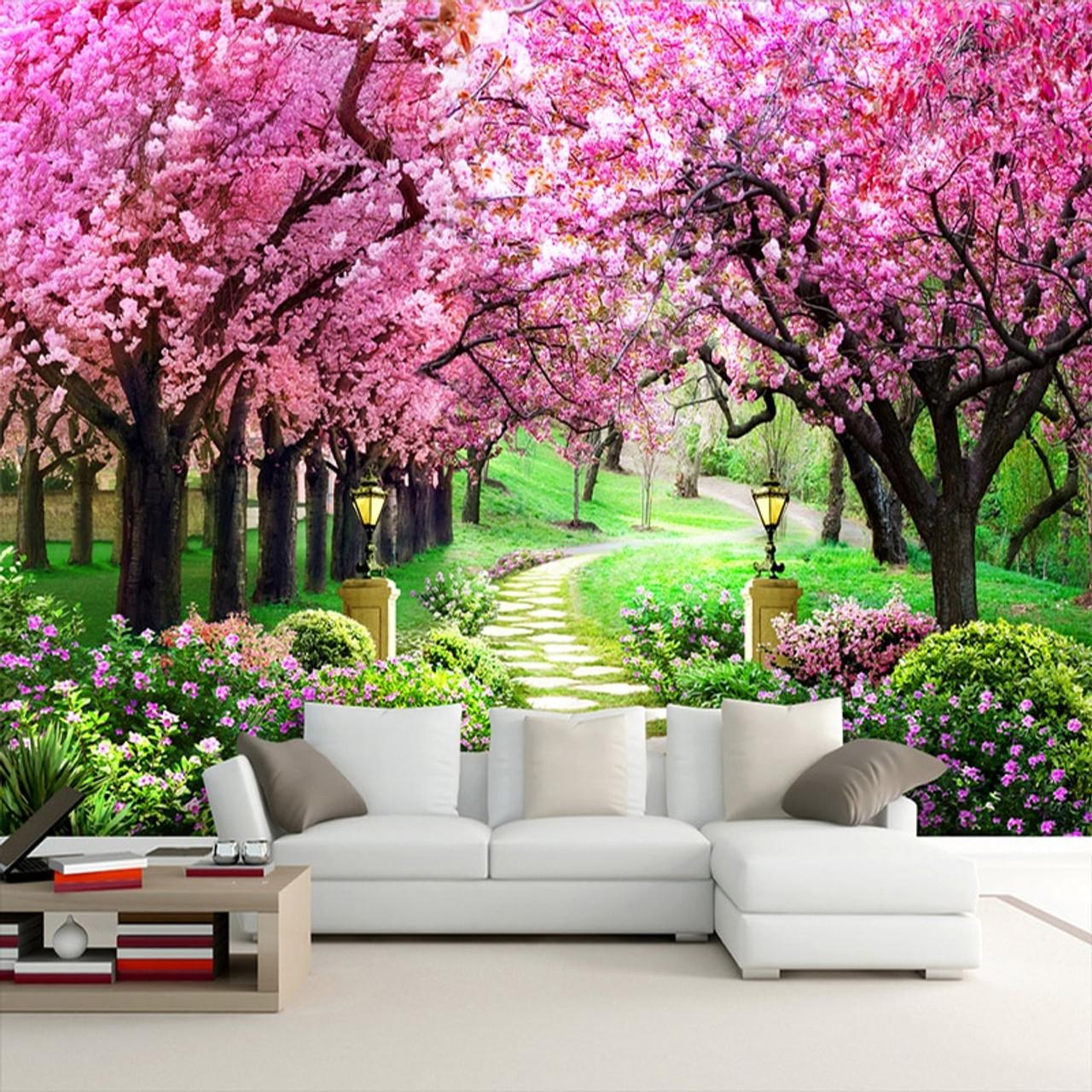 Custom 3d Photo Wallpaper Flower Romantic Cherry Blossom Tree Small