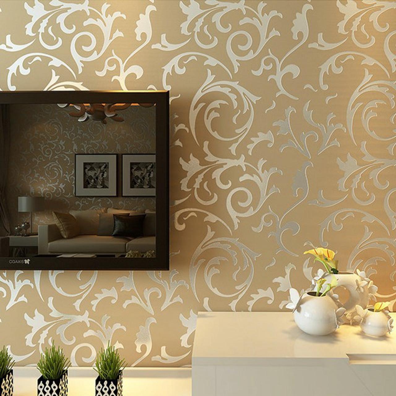 Wallpaper Of Wall: Luxury Grey Silver Leaf 3D Steroscopic Wallpaper For Walls