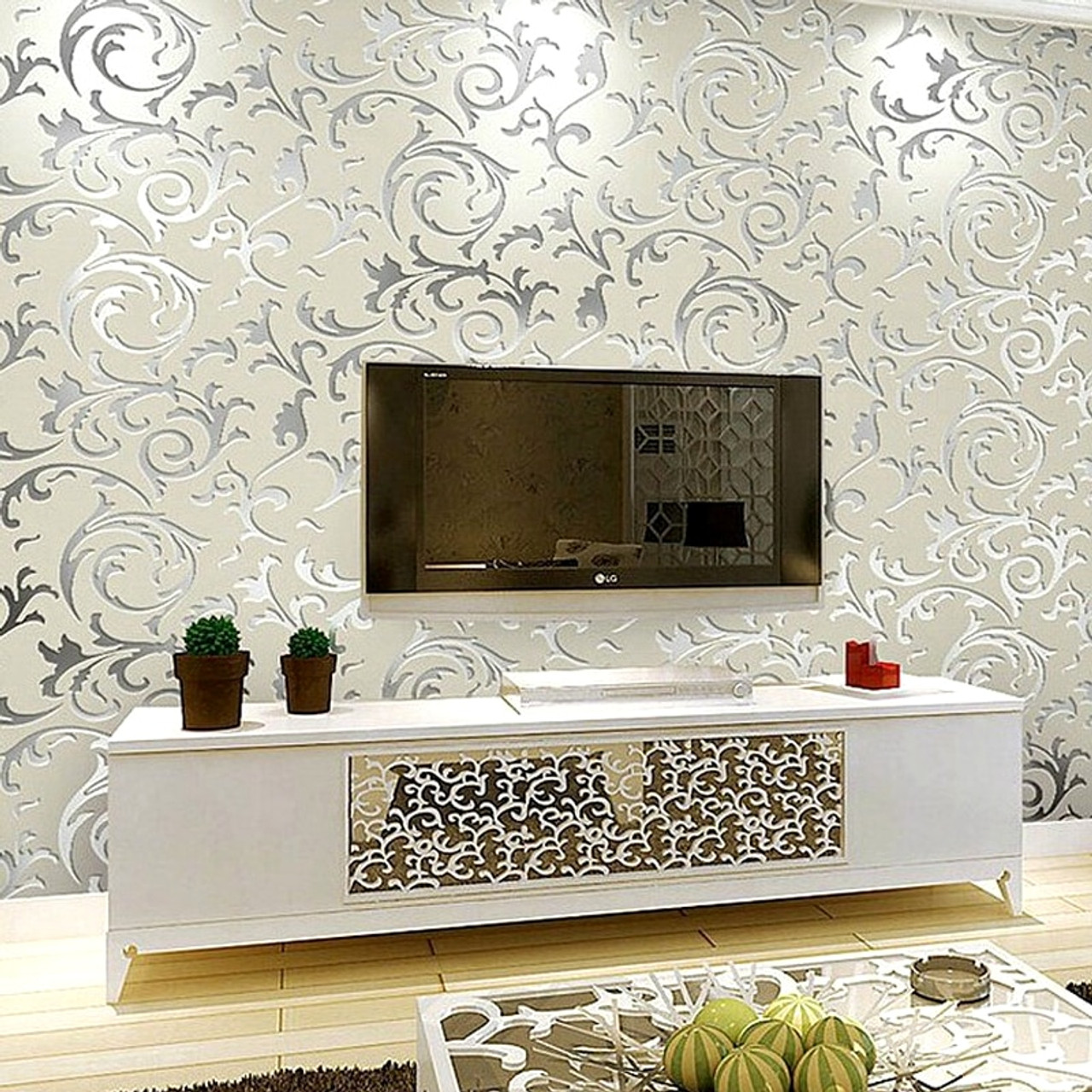 Luxury Grey Silver Leaf 3d Steroscopic Wallpaper For Walls Roll Gold Wall Paper Living Room Background Wallpapers Onshopdeals Com