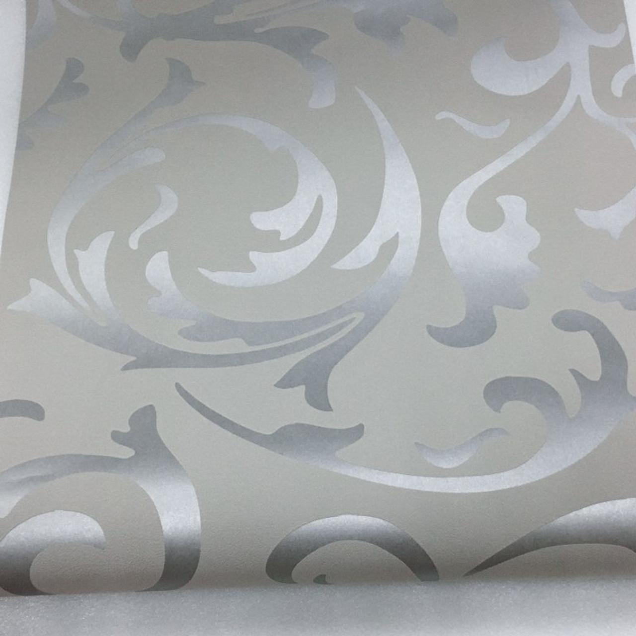 Luxury Grey Silver Leaf 3D Steroscopic ...