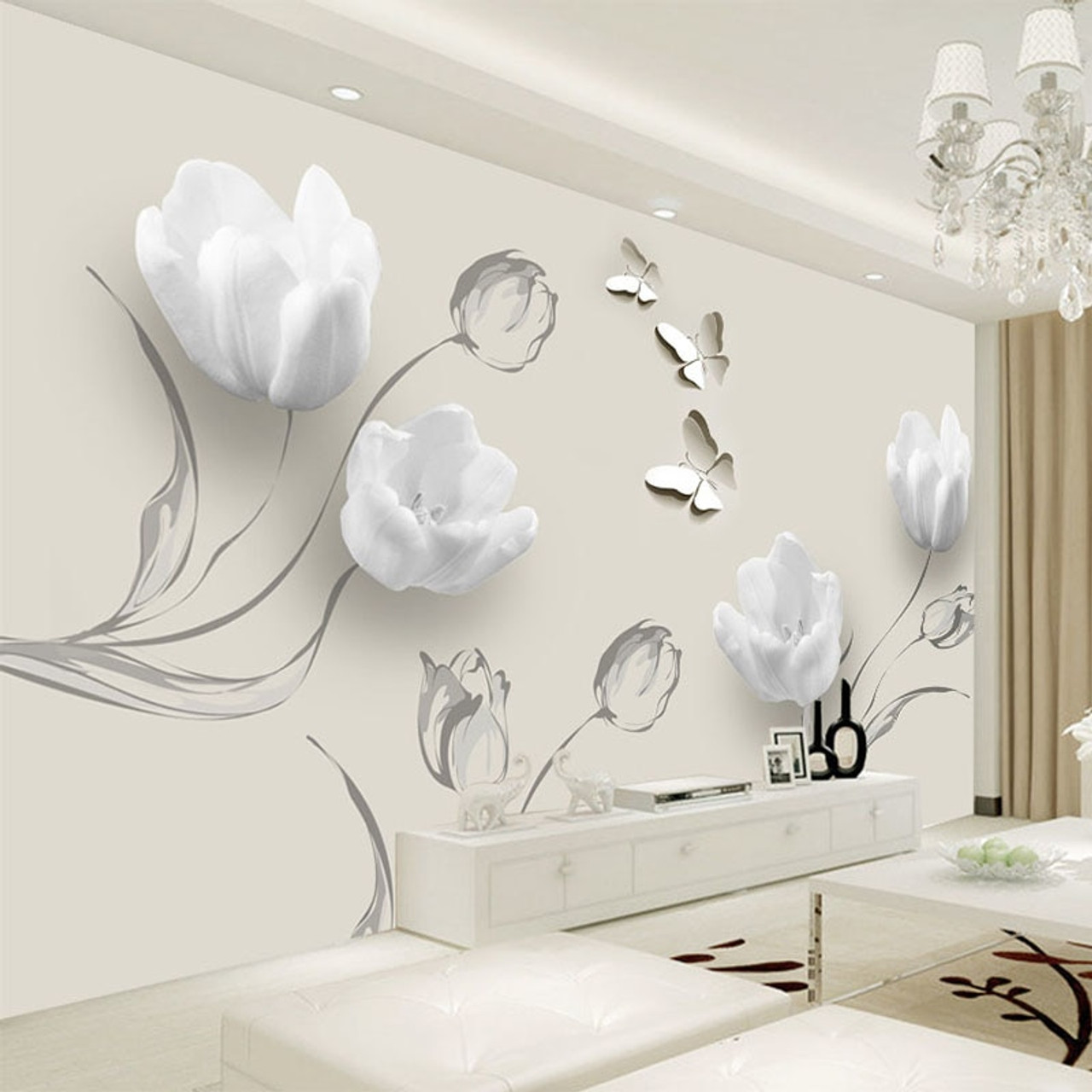 Custom mural wallpaper modern 3d stereo tulip butterfly - Wall painting stencils for living room ...