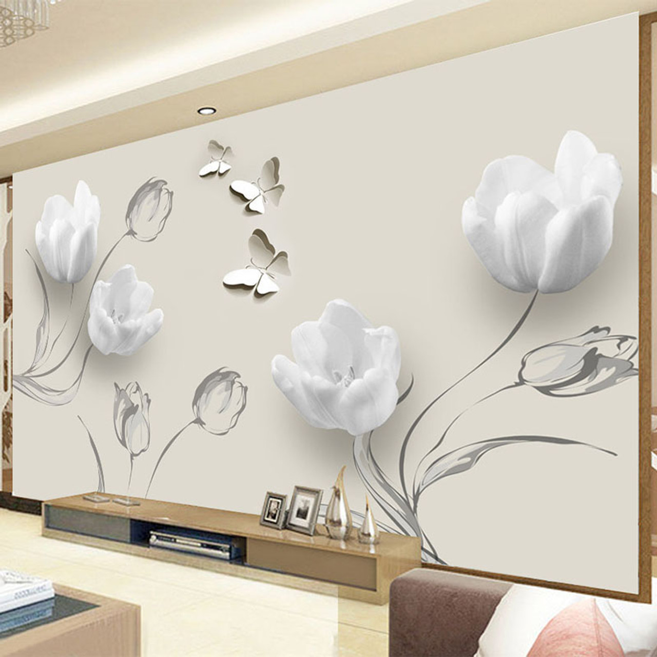Custom Mural Wallpaper Modern 3d Stereo Tulip Butterfly Flowers Wall