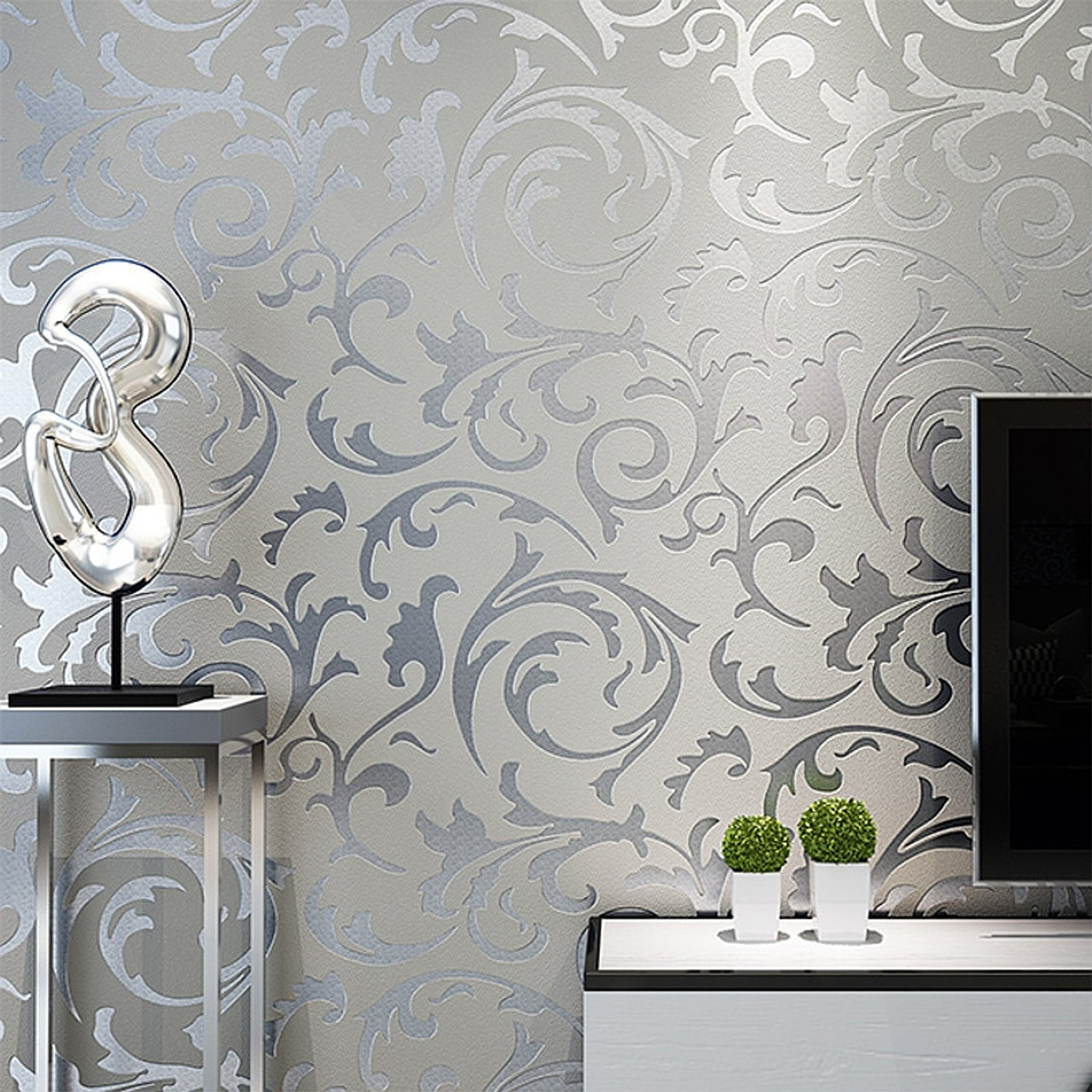 Grey Classic Luxury 3D Floral Embossed Textured Wall Paper Modern ...