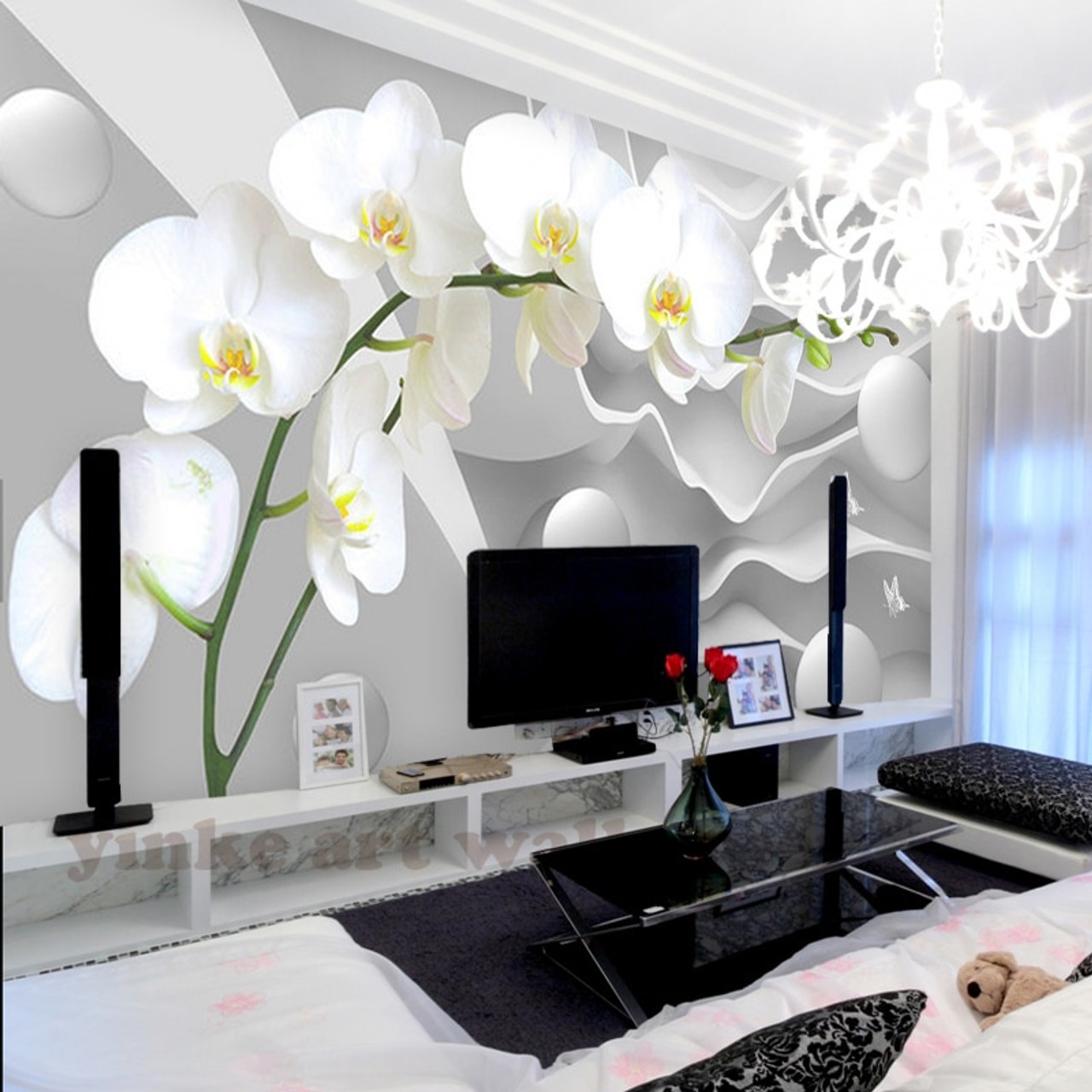custom 3d stereoscopic wallpaper space butterfly orchid ...