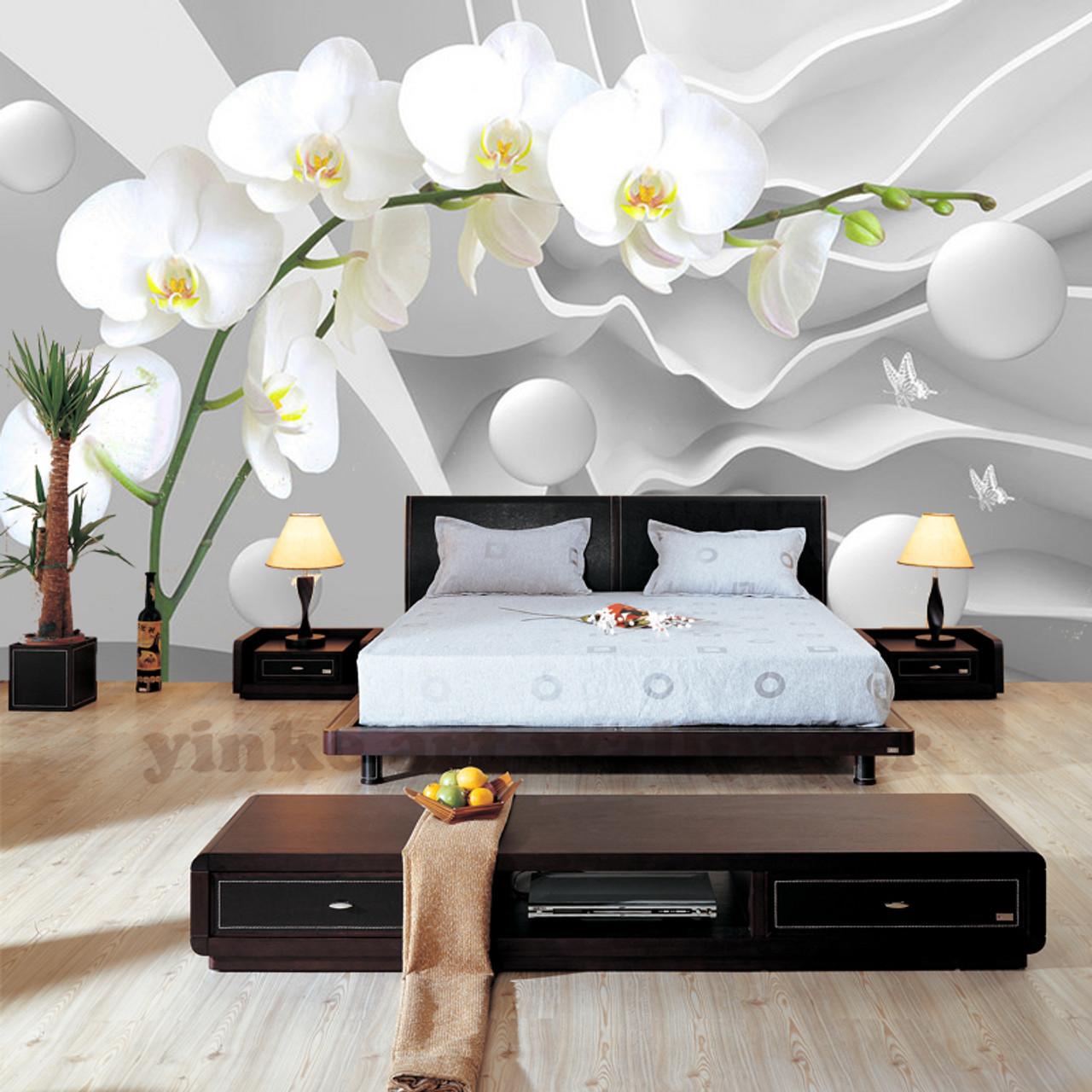 Custom 3d Stereoscopic Wallpaper Space Butterfly Orchid Ball Wallpaper Modern Living Room Bedroom 3d Wallpapers Large Mural Onshopdeals Com
