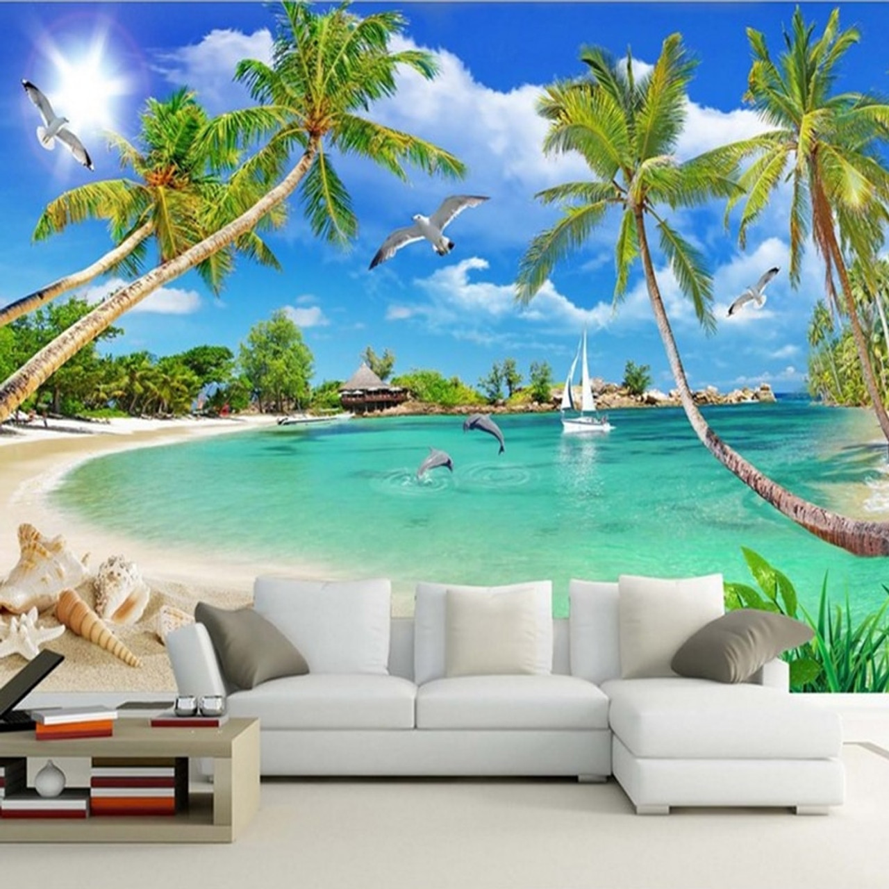 Youman Custom 3d Photo Wallpaper Wall Murals 3d Wallpaper Summer Beach Trees Landscape Home Decor For Room Bedroom Living Room Onshopdeals Com