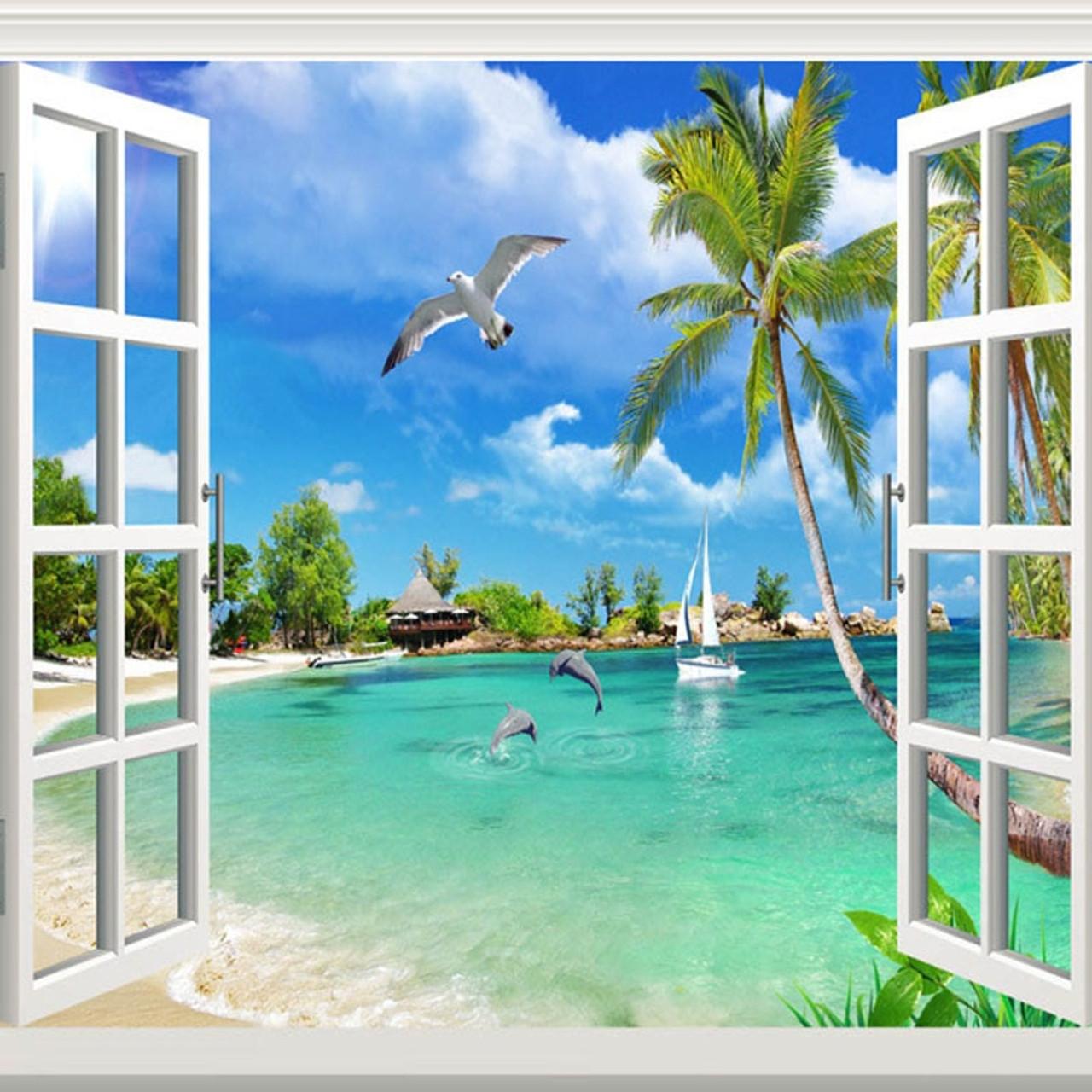 Custom Photo Wallpaper Hawaii 3D Window Scenery Bedroom ...