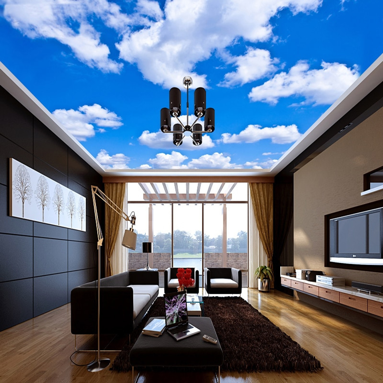 Custom Ceiling Mural Wallpaper 3D Blue Sky And White Clouds Living Room Bedroom Ceiling Background Photo  90848.1540308364