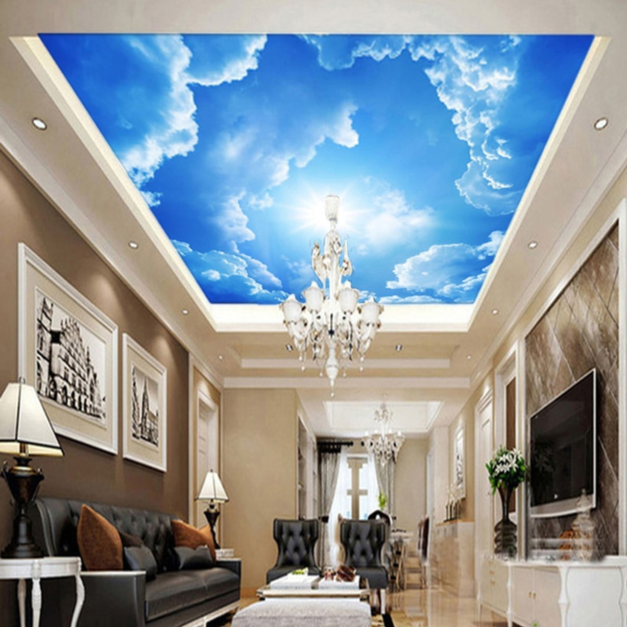 Modern 3D Wallpaper Blue Sky And White Clouds Wall Papers Home Interior Decor Living Room Ceiling Lobby Mural Wallpaper