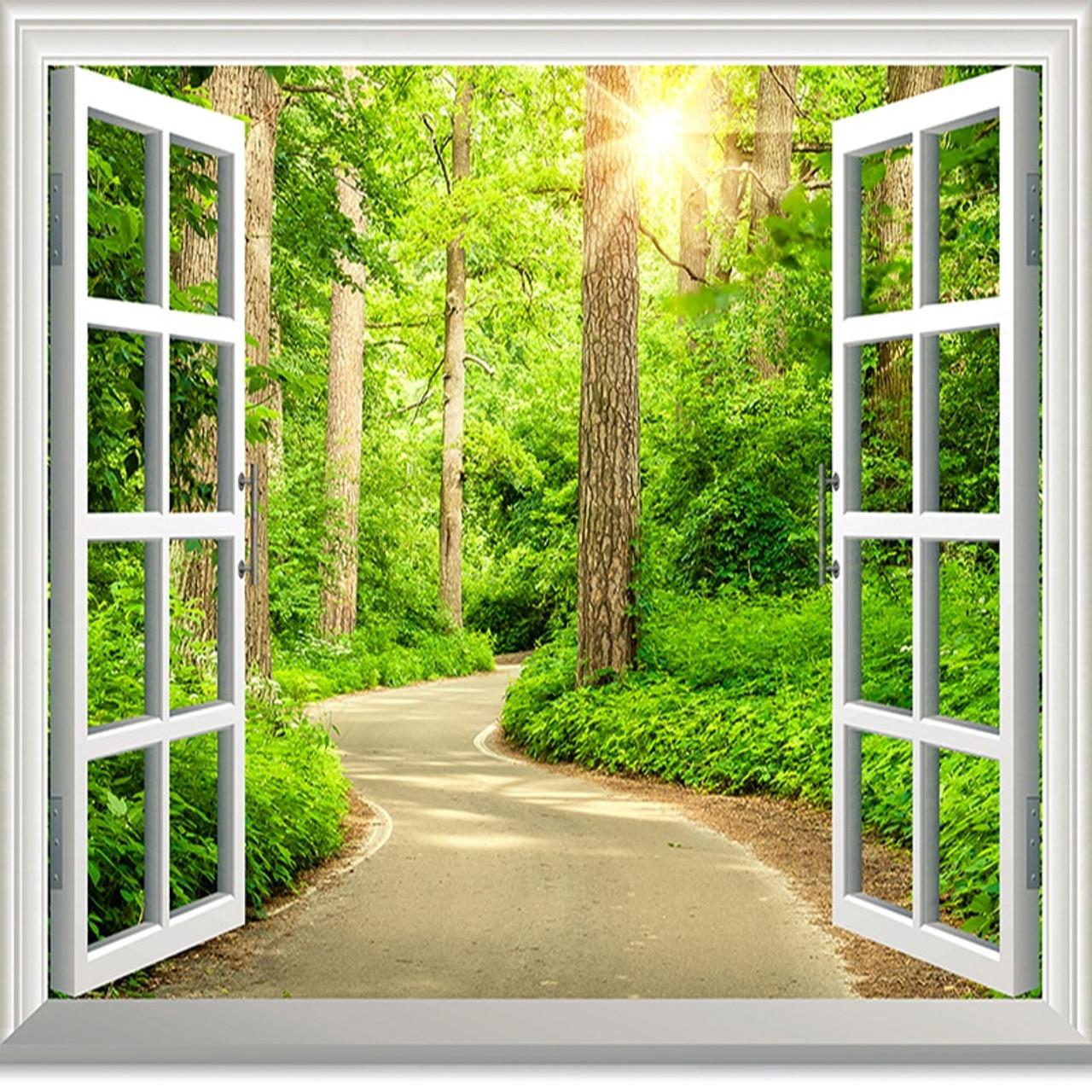 Custom Photo Wallpaper HD Green Fresh Path Sunshine Forest