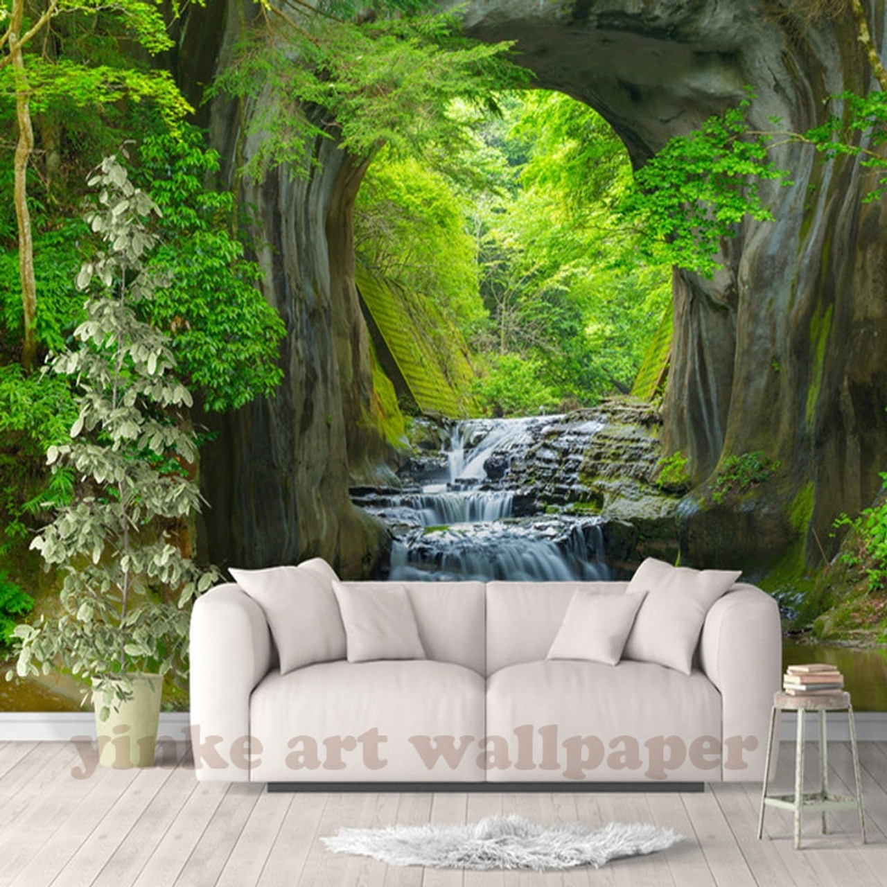 Custom 3d Fresh Rill Forest Wall Mural Photo Wallpaper Scenery For