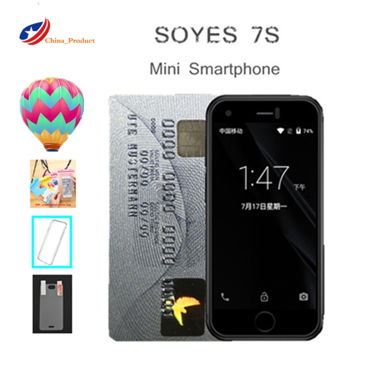 sports shoes 594ba 52a06 Super Mini Smartphone Android Smart Phone Original SOYES 7S 6S Quad Core  1GB+8GB 5.0M Dual SIM Mobile Cell Phones free case gift