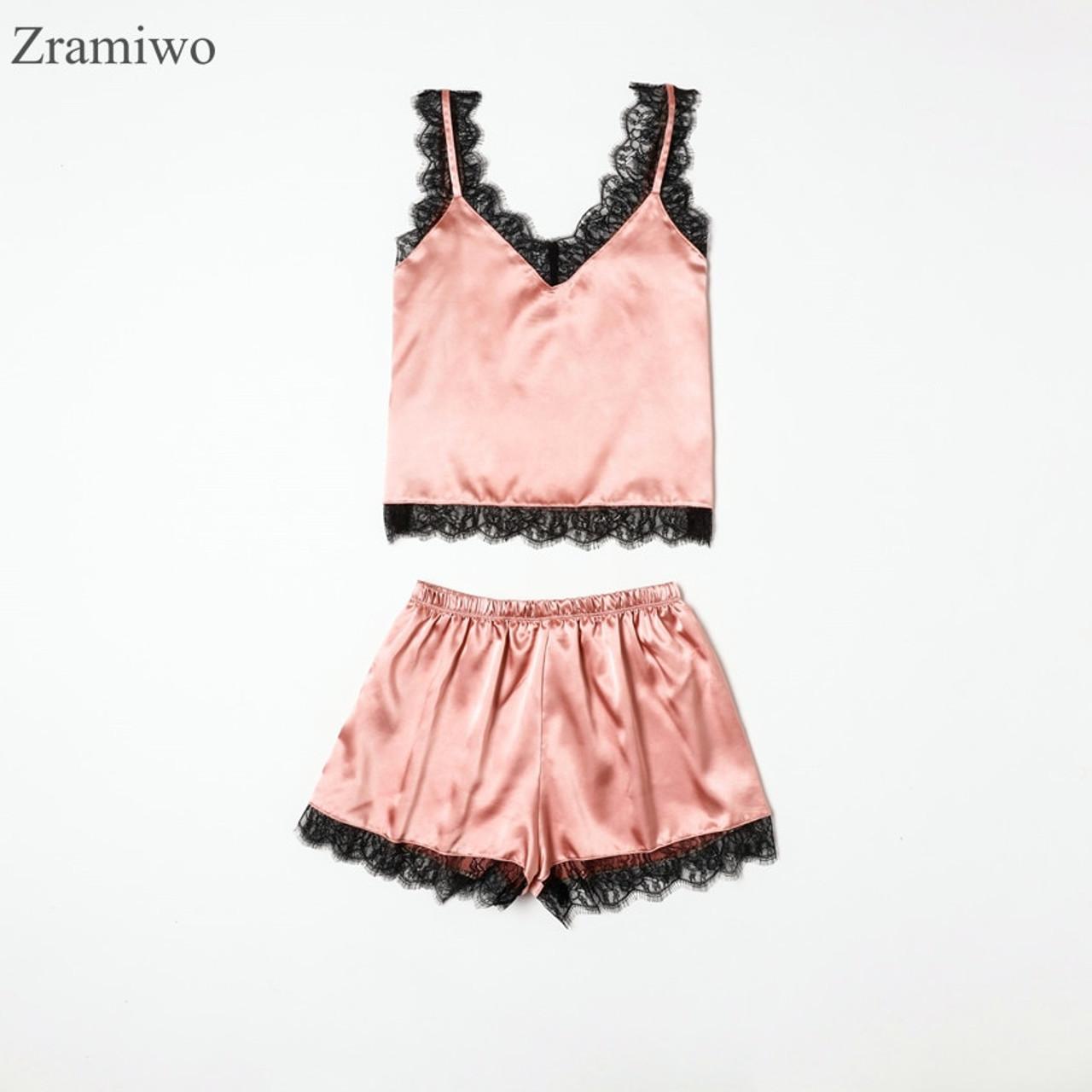 87a1b4b9de Summer Sleepwear Sexy Satin Pajamas Set Lace Cami Tops and Shorts  Sleeveless Nightwear for Women ...