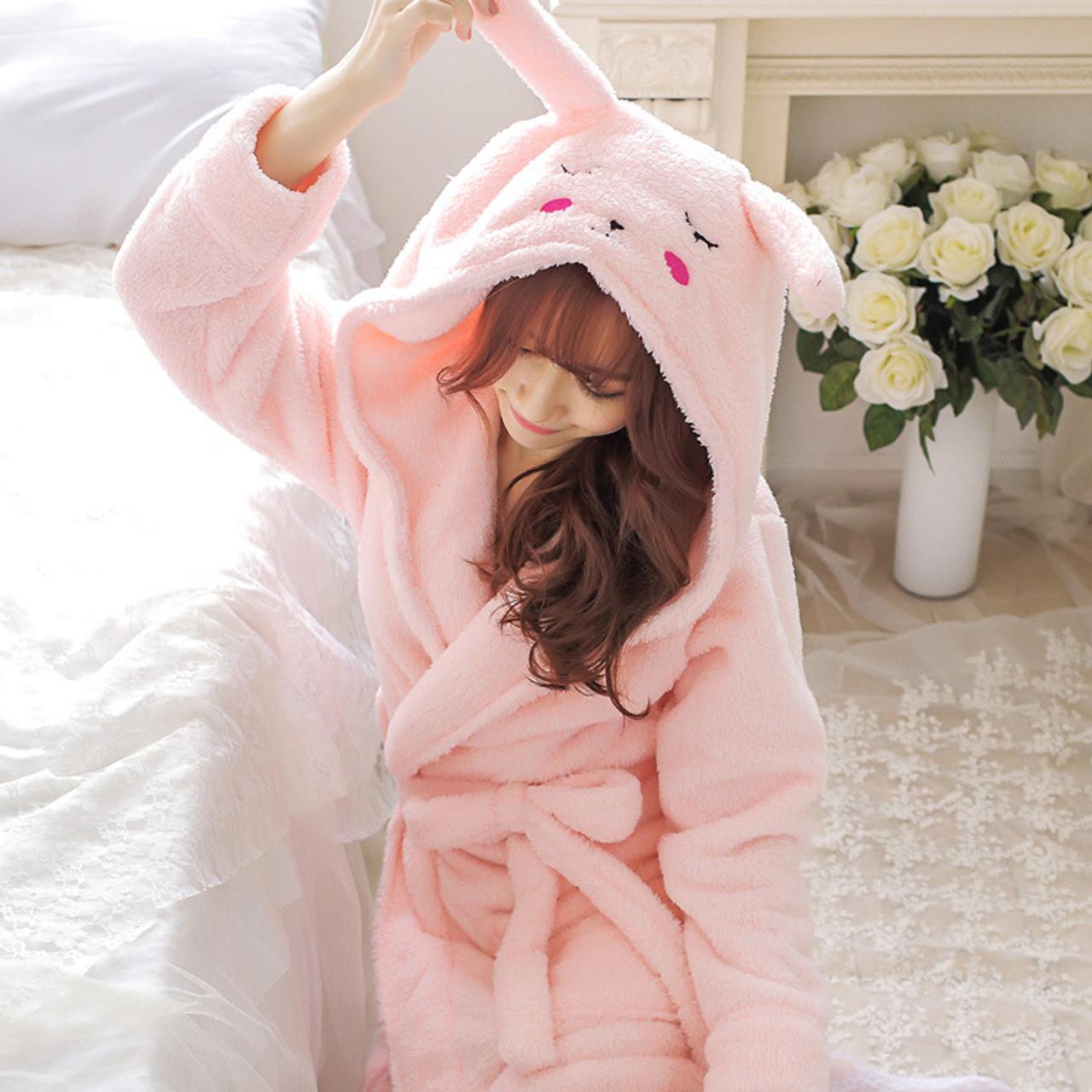 Winter Cute Warm Bathrobes Women Cartoon Bear Rabbit Knee Length Bath Robe Dressing Plus Size Soft Gown Bridesmaid Robes Female Onshopdeals Com