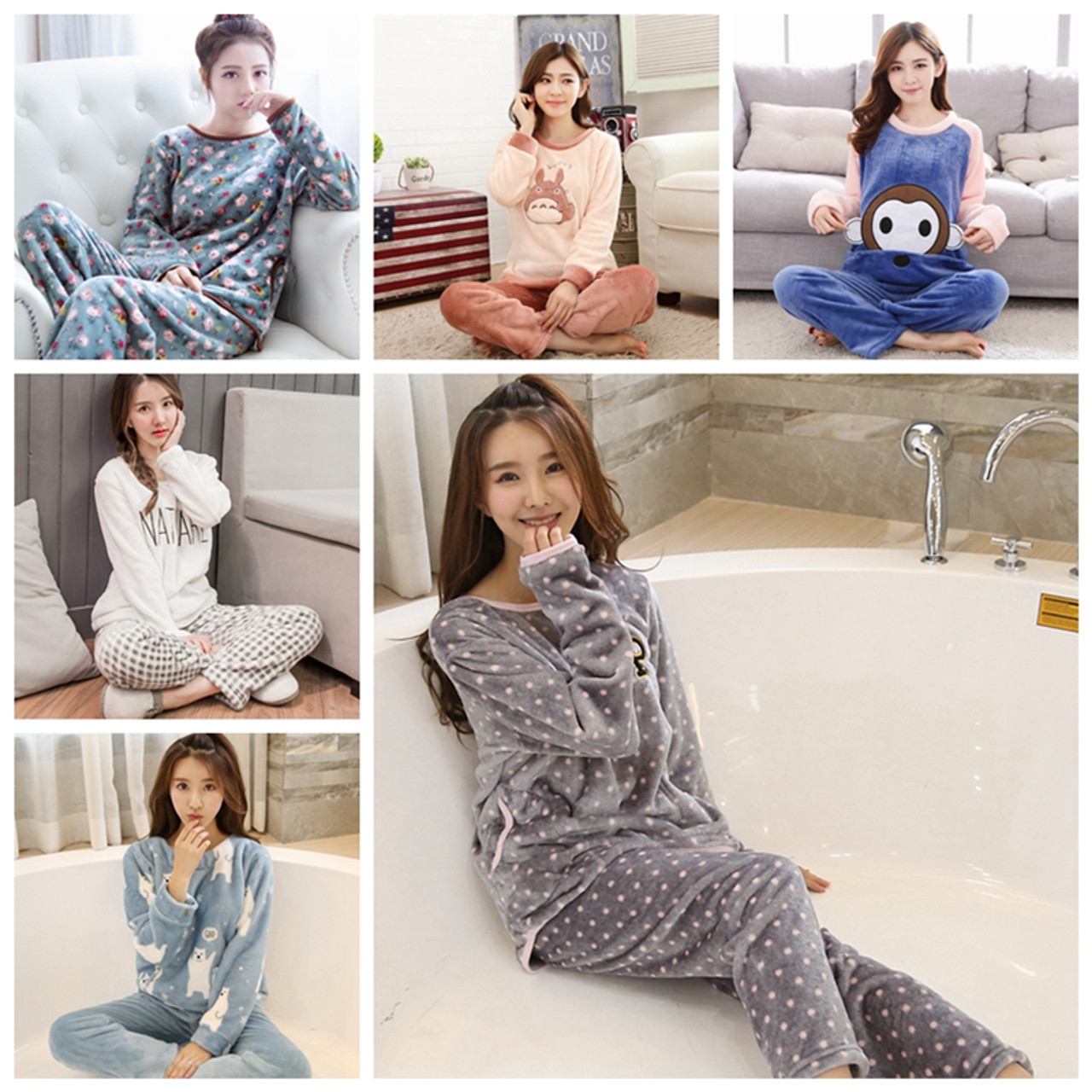 910d7cf153 ... Thick Warm Flannel Pajamas Sets Winter Women Two Piece Pajama Set  Cartoon Female Sleepwear Home Clothing