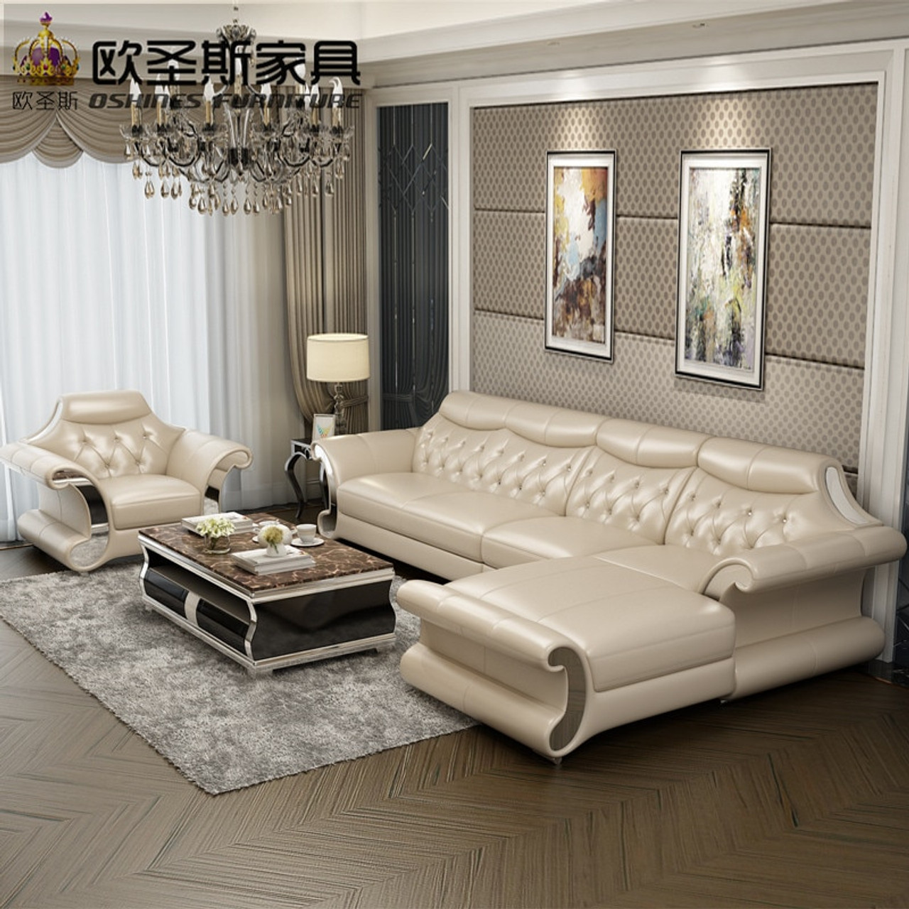 Beautiful post modern bright colored sleeper couch living room stailess  steel frame buffalo leather sofa set designs and prices