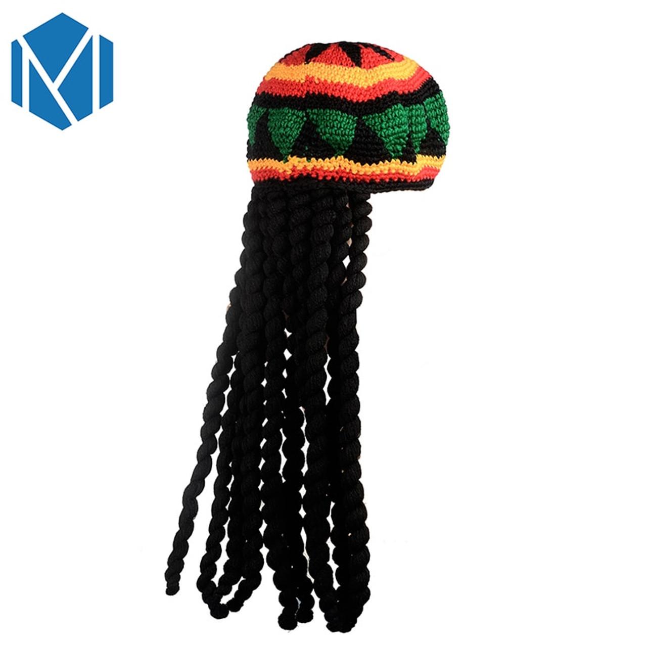 Miya Mona Men Novelty Knitted Wig Braid Hat Bob Marley Rasta Beanie Male  Jamaican Multicolor Headwear ... 4f7dbf2a43a