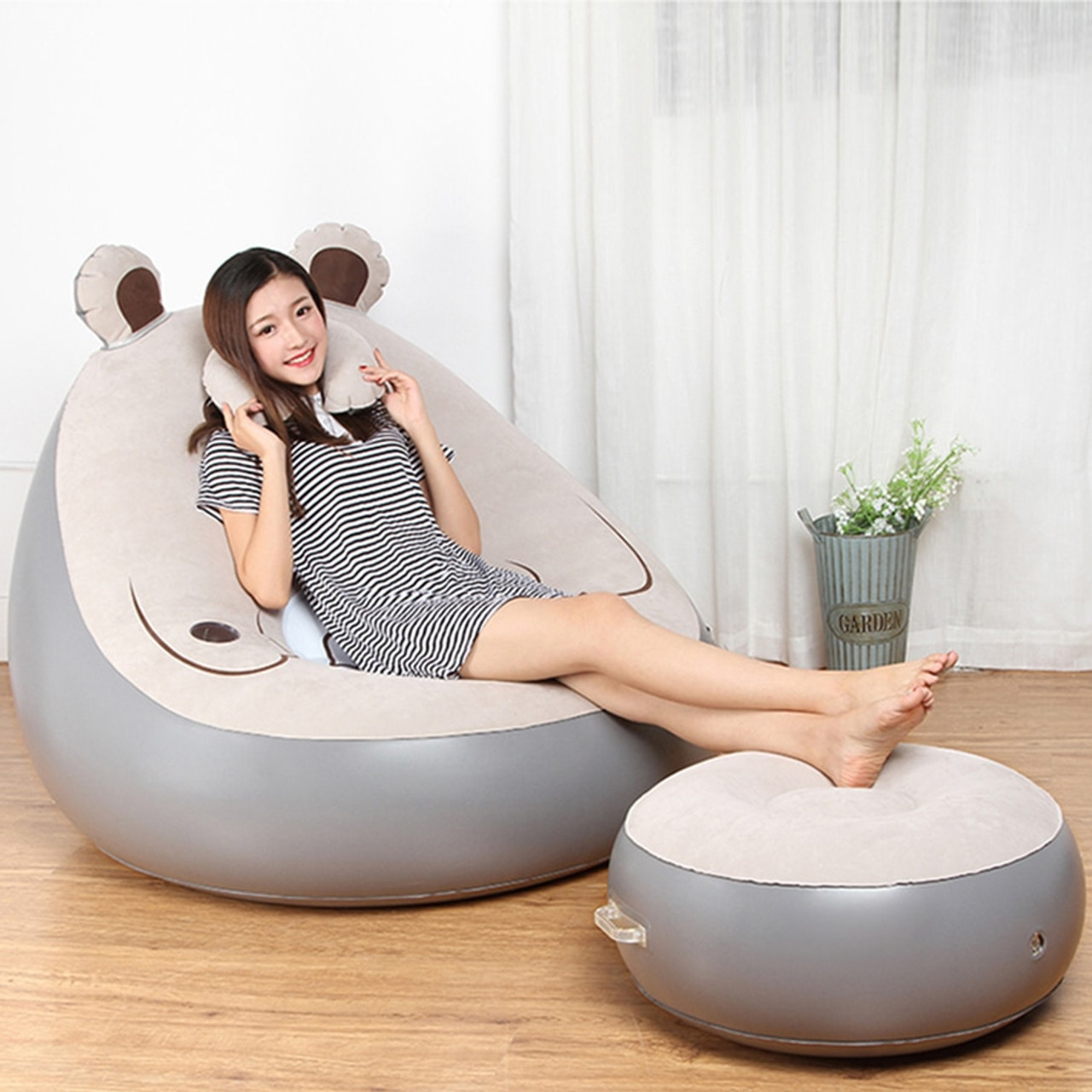 Cute Expression Inflatable Bean Bag Sofa Lounge Chair And Ottoman